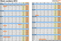 Template 2: Week Numbers 2012 as Excel, PDF & Word templates