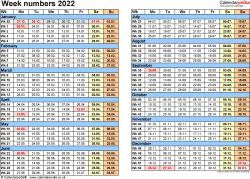 Template 2: Week Numbers 2022 as Excel, PDF & Word templates