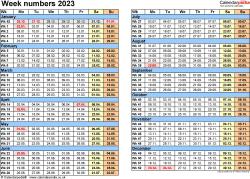 Template 2: Week Numbers 2023 as Excel, PDF & Word templates
