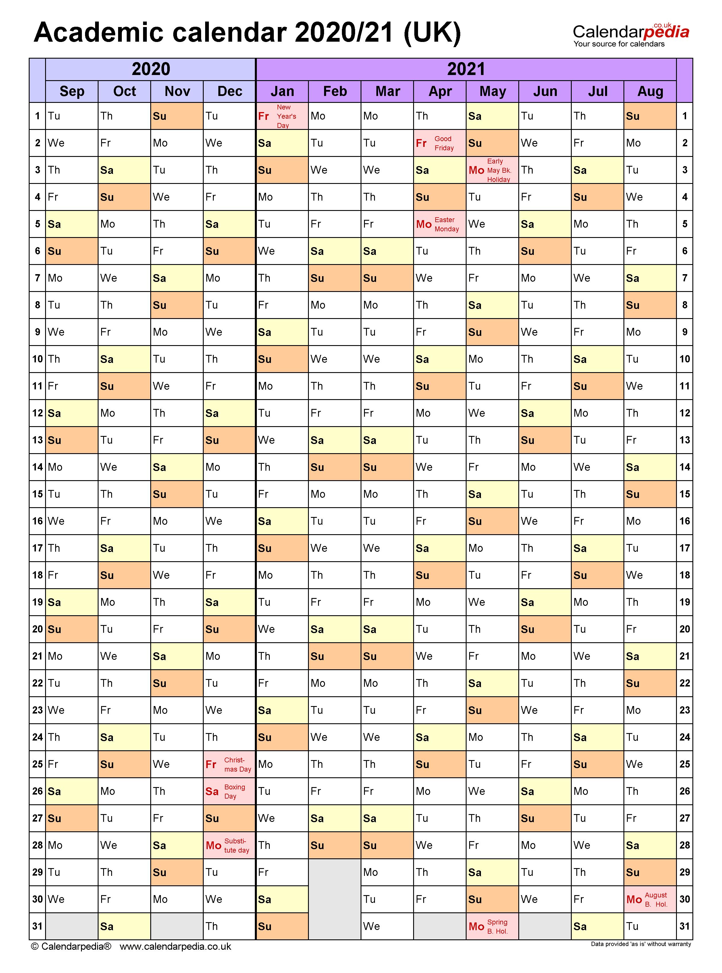 Academic calendars 2020/21 UK - free printable Word templates