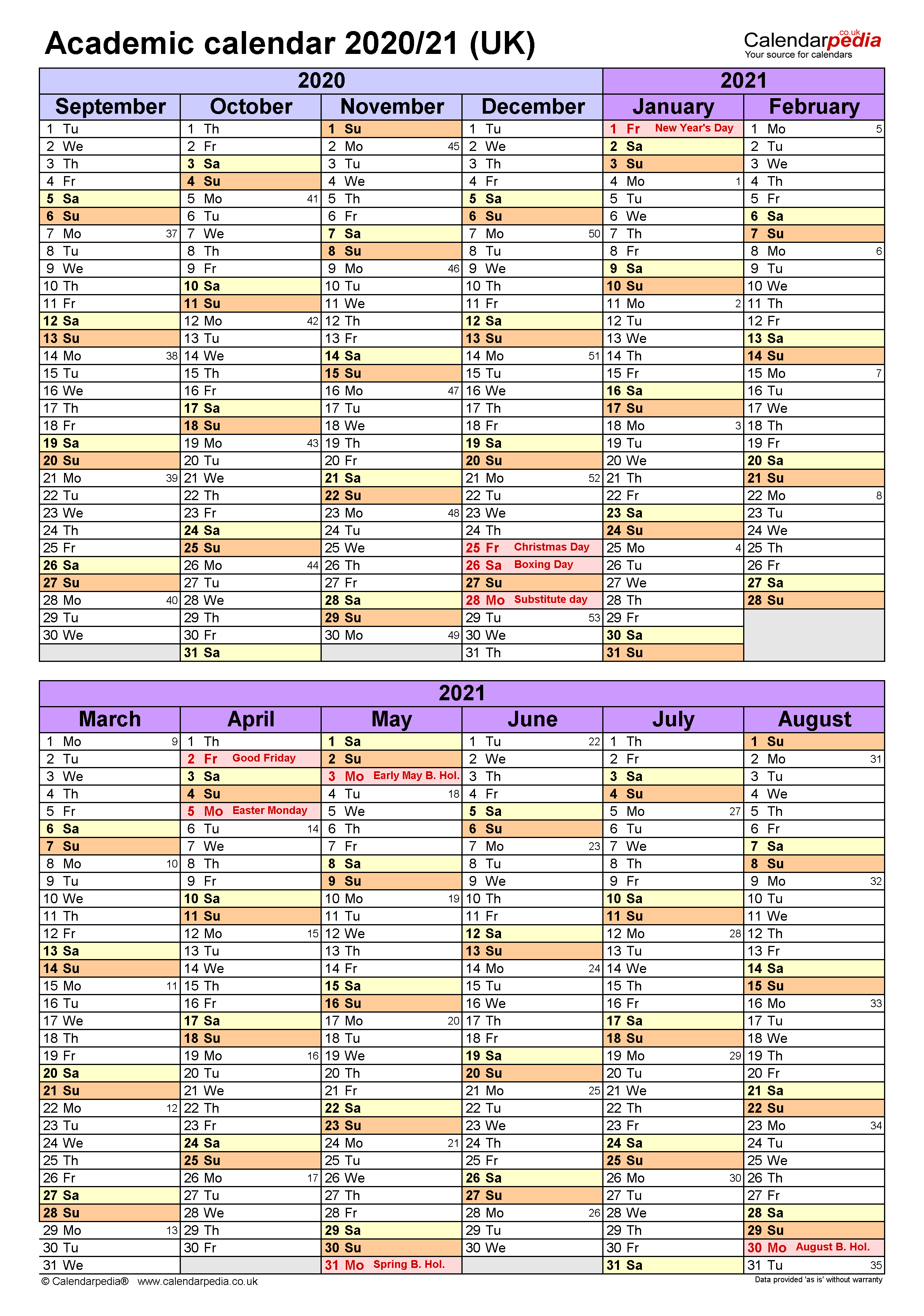 Academic calendars 2020/21 UK - free printable Word templates