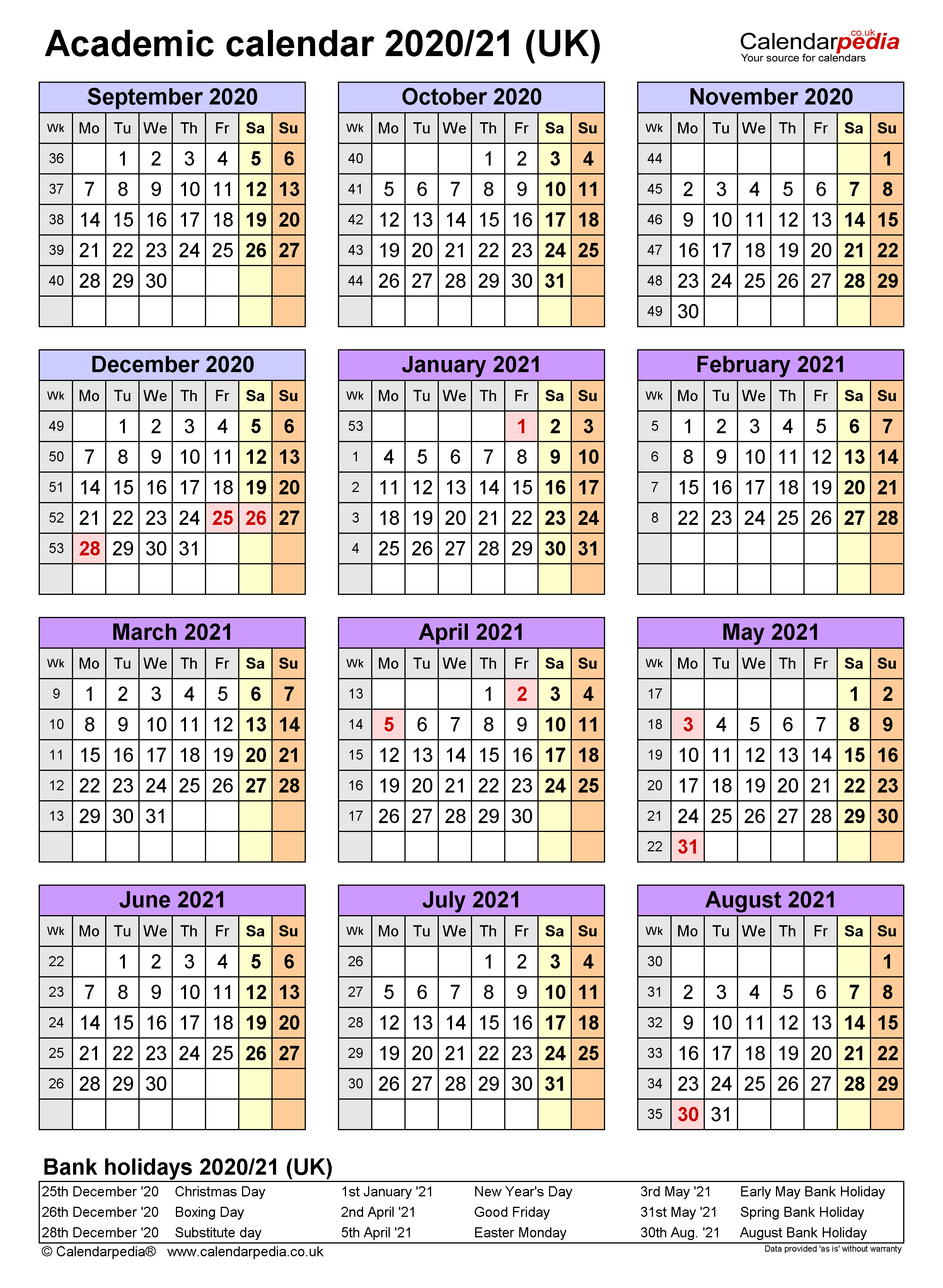 2020 And 2021 Academic Calendar Uk | 2022 Calendar