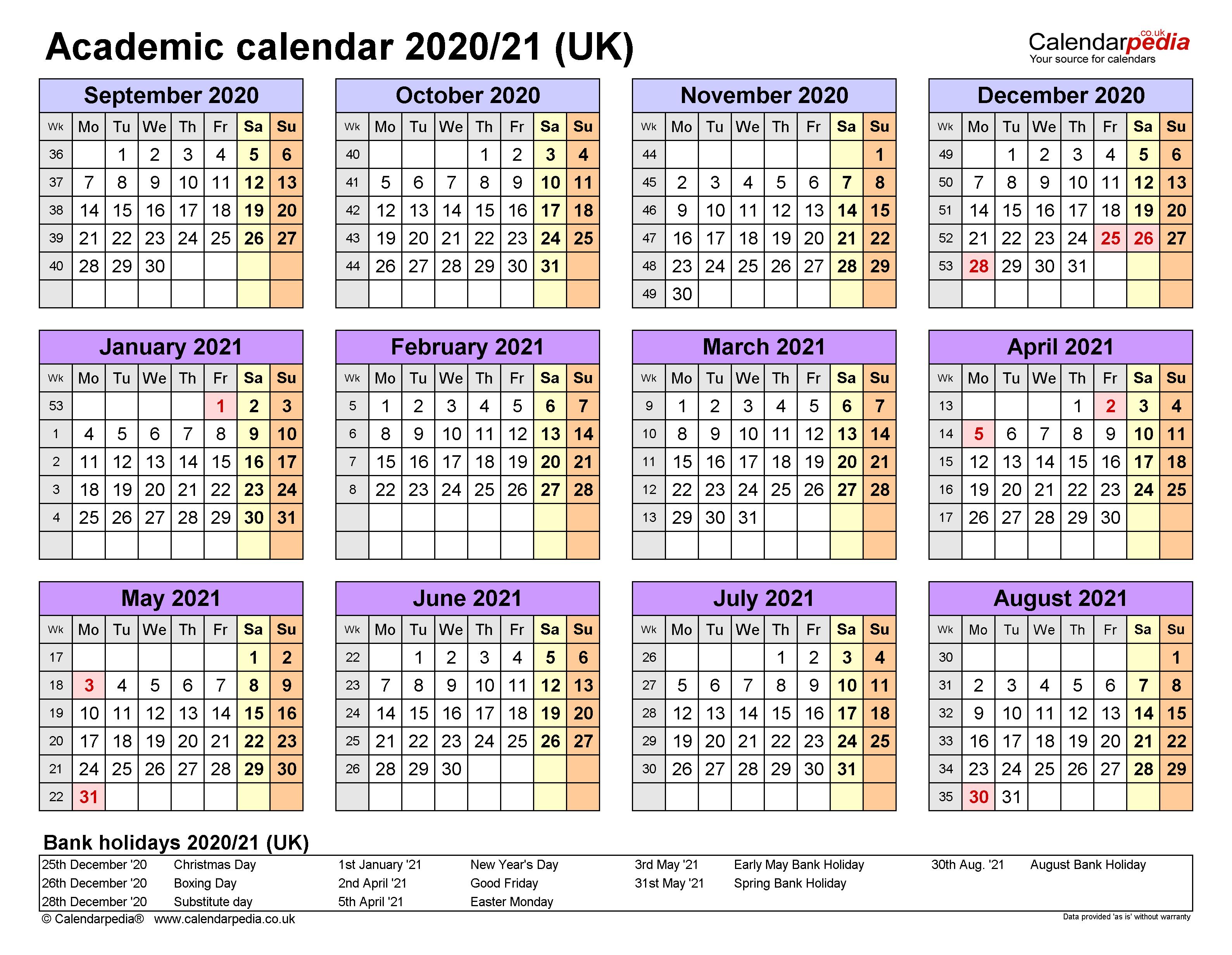 2020 And 2021 Academic Calendar Uk | 2022 Calendar