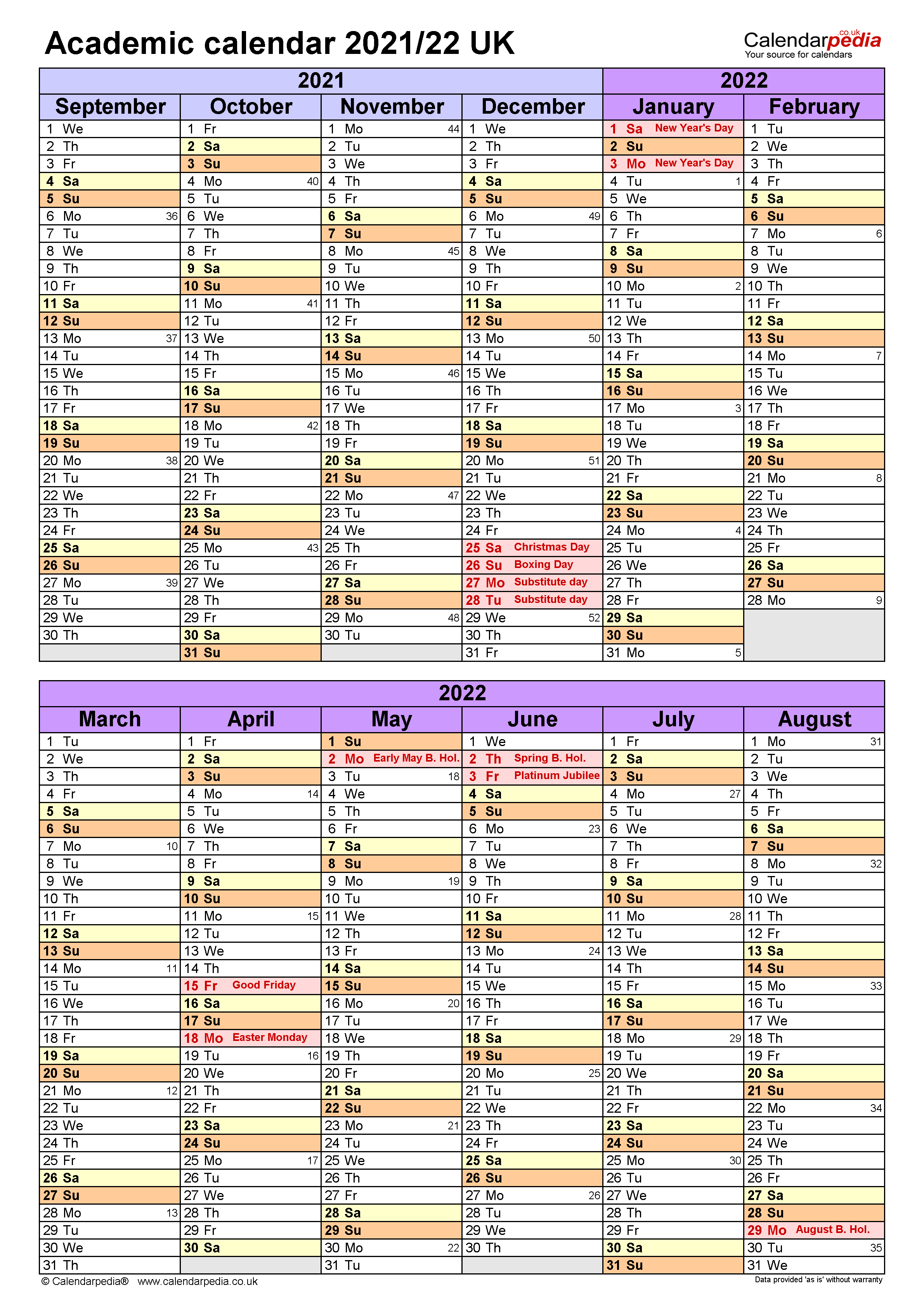 Academic calendars 2021/2022 - free printable PDF templates