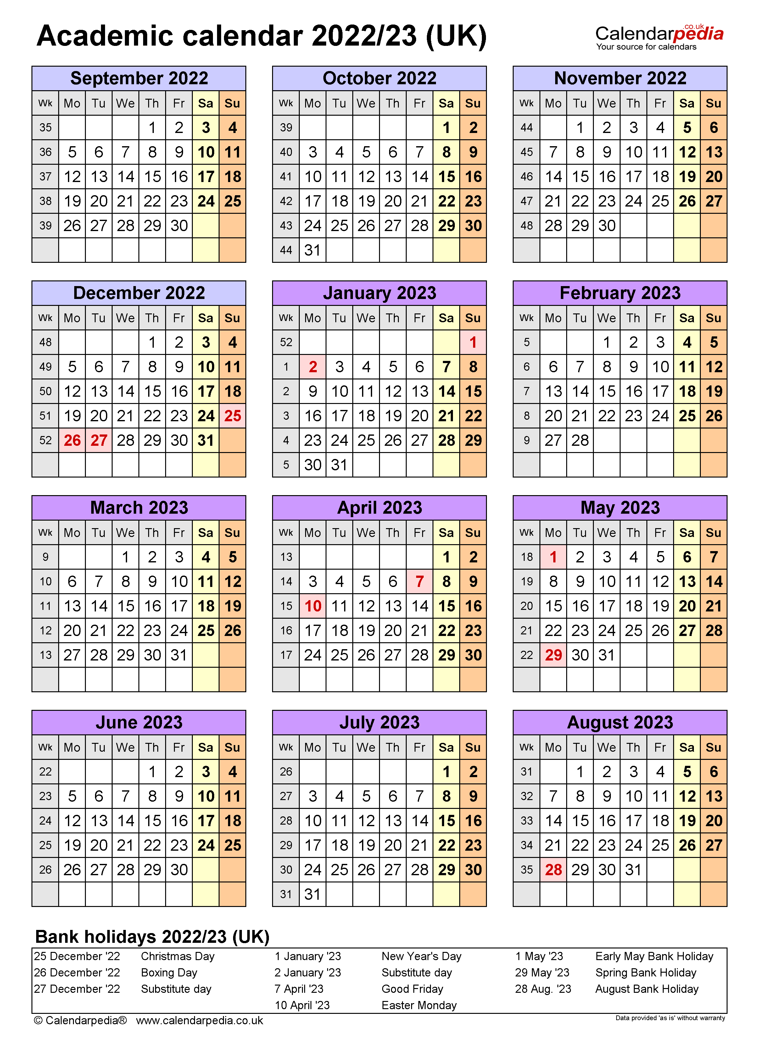 Academic Calendar 2022 23.Academic Calendars 2022 23 Uk Free Printable Excel Templates