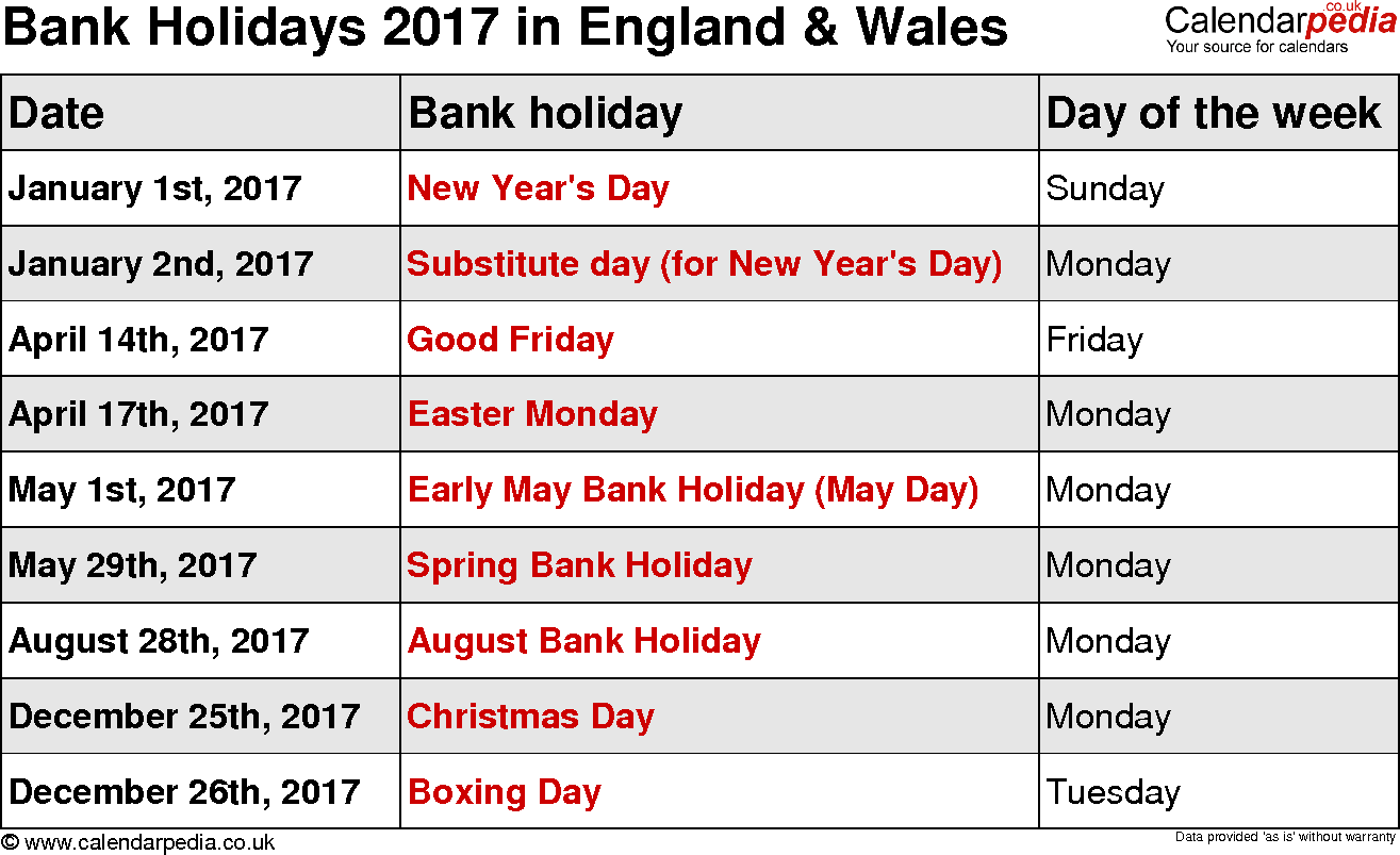 Bank Holidays 2017 in the UK, with printable templates