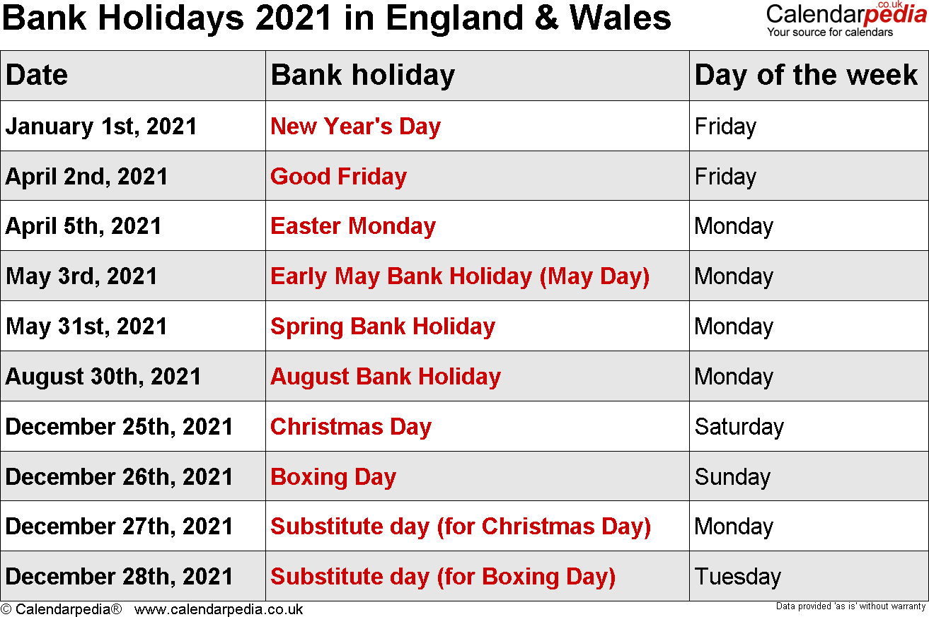 Christmas 2021 In England Bank Holidays 2021 In The Uk With Printable Templates