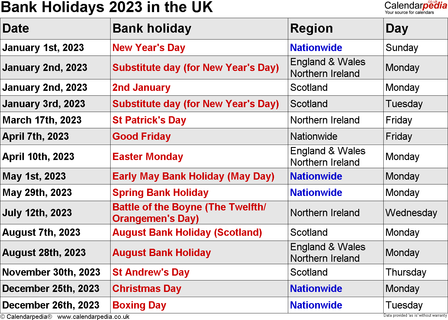 Bank Holidays 2023 in the UK, with printable templates