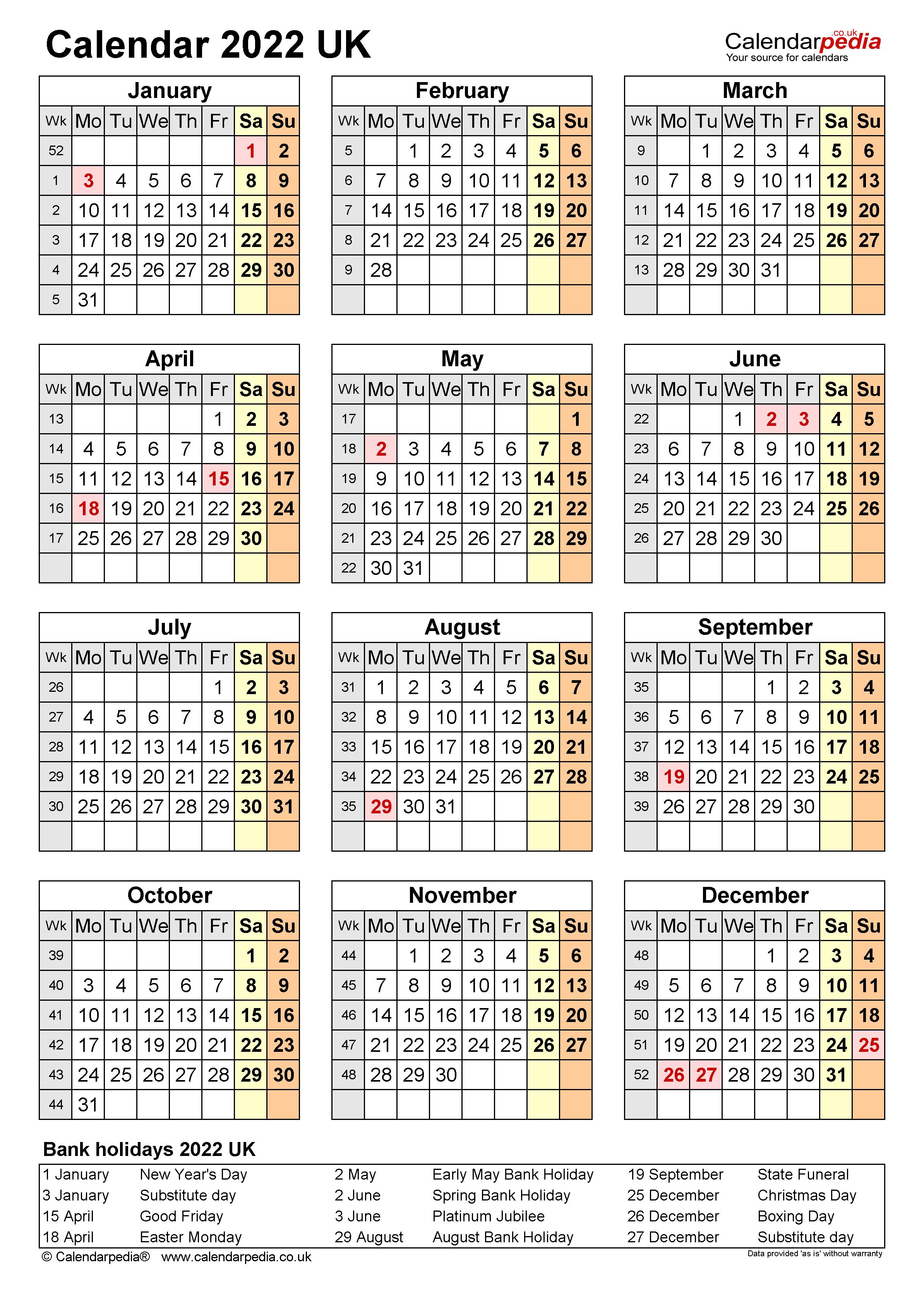 Calendar 2022 (UK) - free printable Microsoft Excel templates