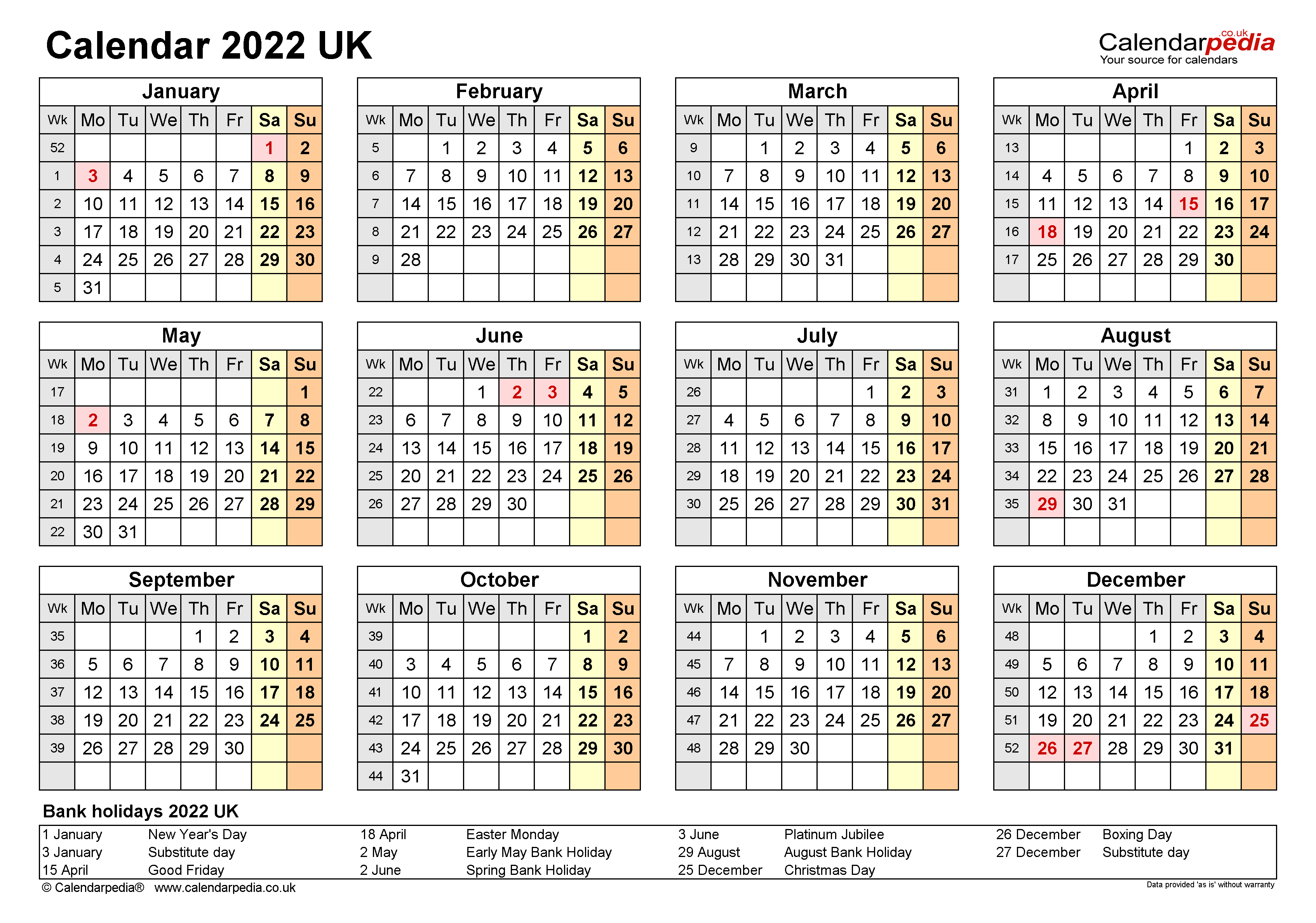 Calendar 2022 (UK) - free printable Microsoft Word templates