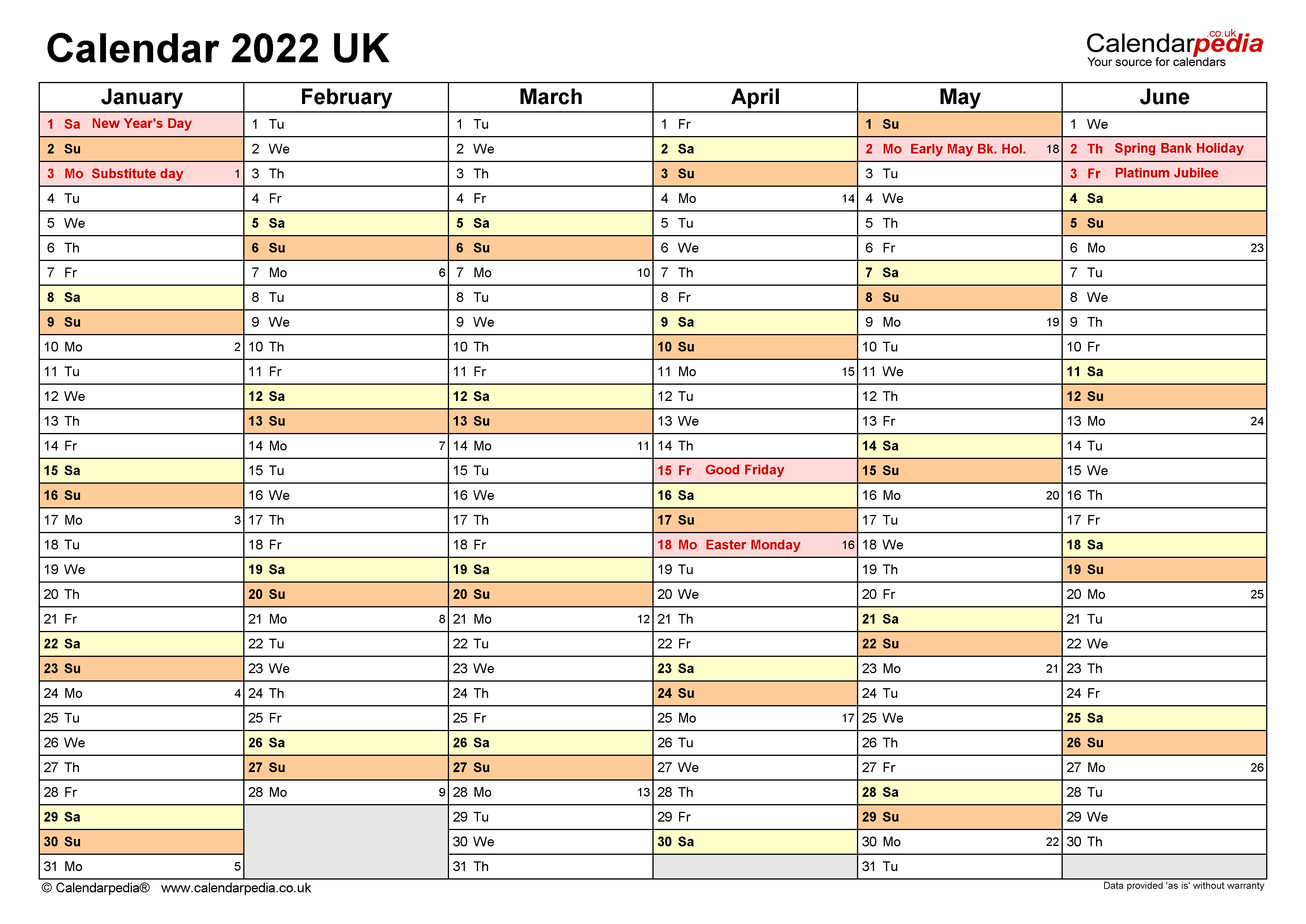 Calendar 2022 (UK) - free printable PDF templates