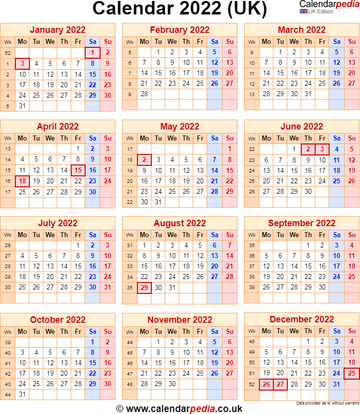 Calendar 2022 UK with bank holidays & Excel/PDF/Word templates