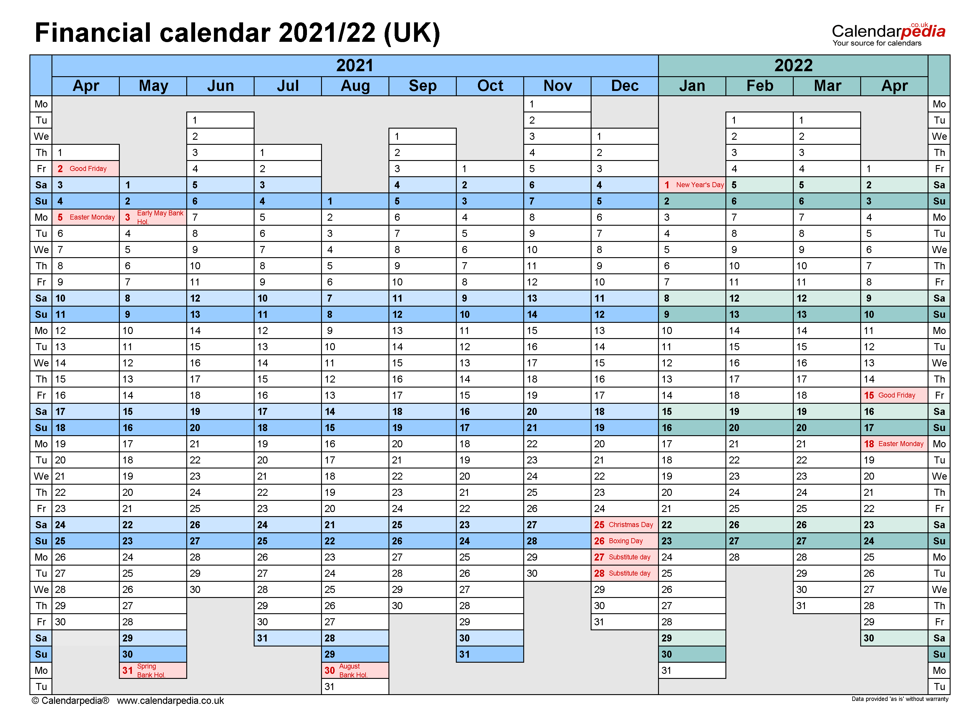 Financial calendars 2021/22 UK in PDF format