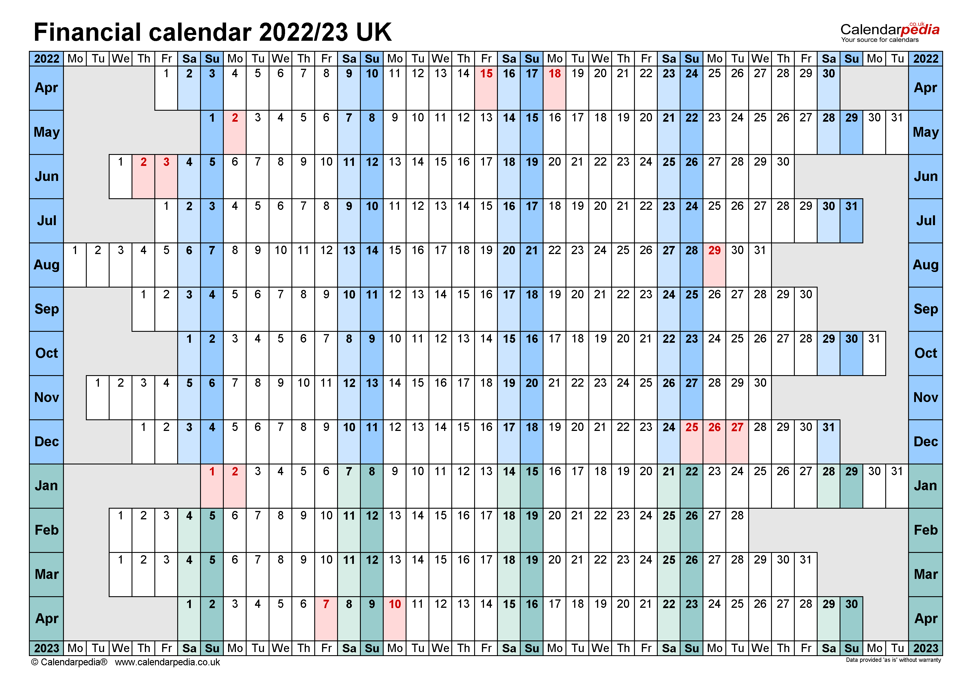 Financial Calendars 2022 23 Uk In Microsoft Word Format