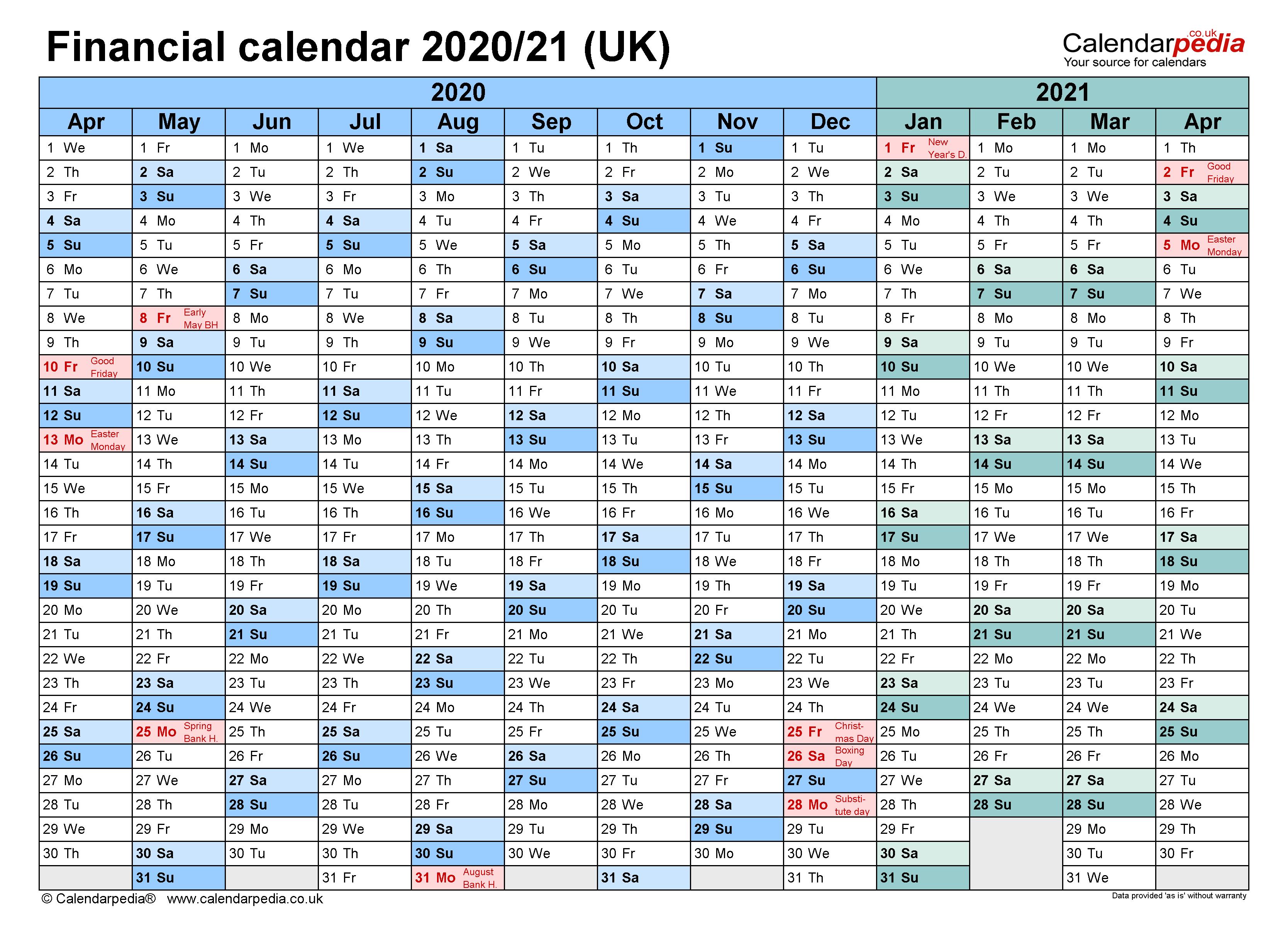 Financial calendars 2020/21 (UK) in Microsoft Word format