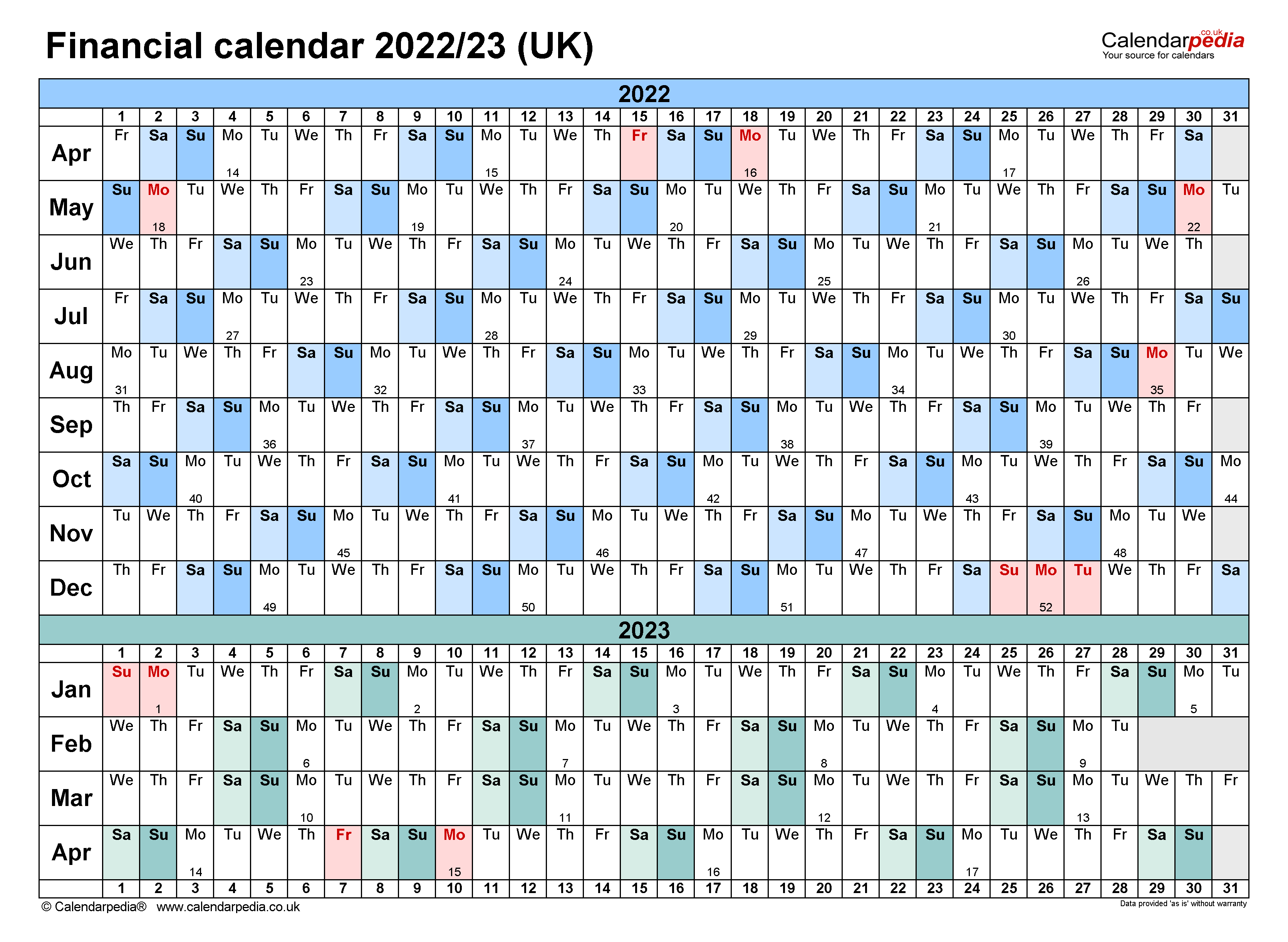 Financial Calendars 2022 23 Uk In Pdf Format