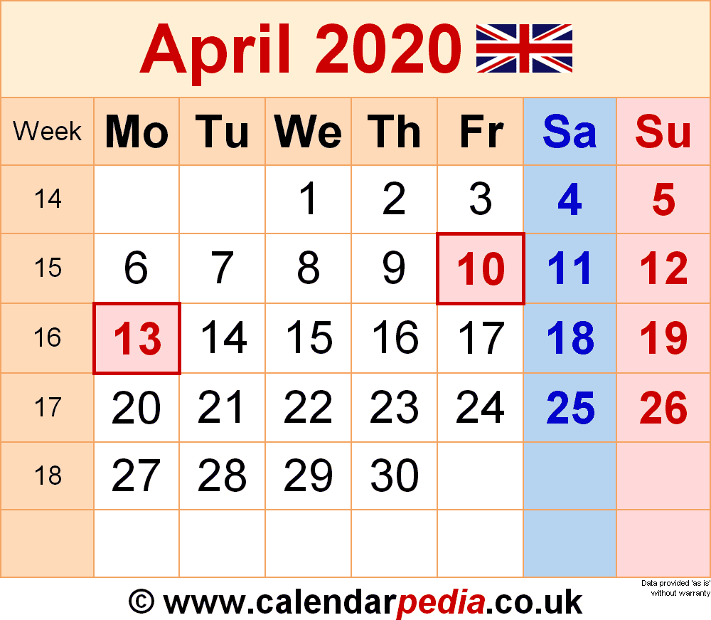Calendar April 2020 (UK) with Excel, Word and PDF templates