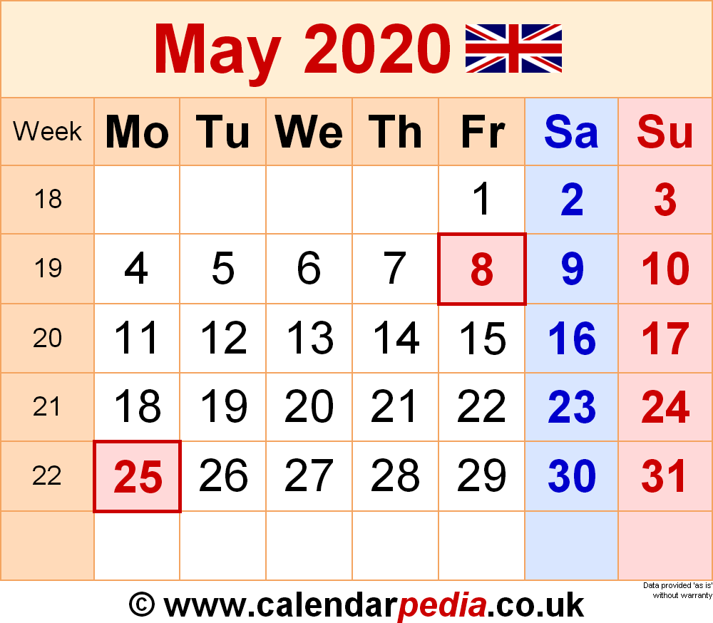Calendar May 2020 (UK) With Excel, Word And PDF Templates