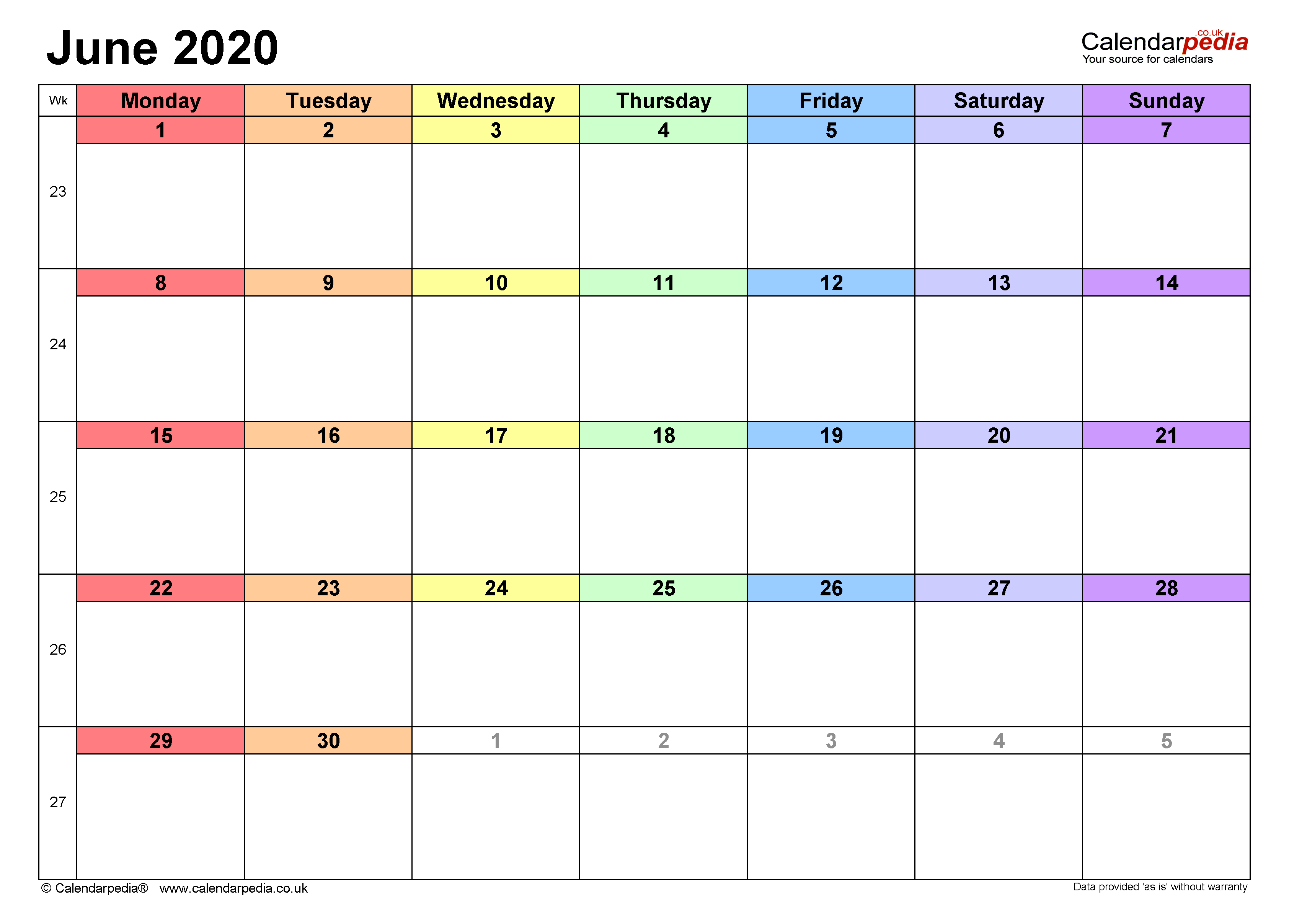 Calendar June 2020 UK with Excel, Word and PDF templates