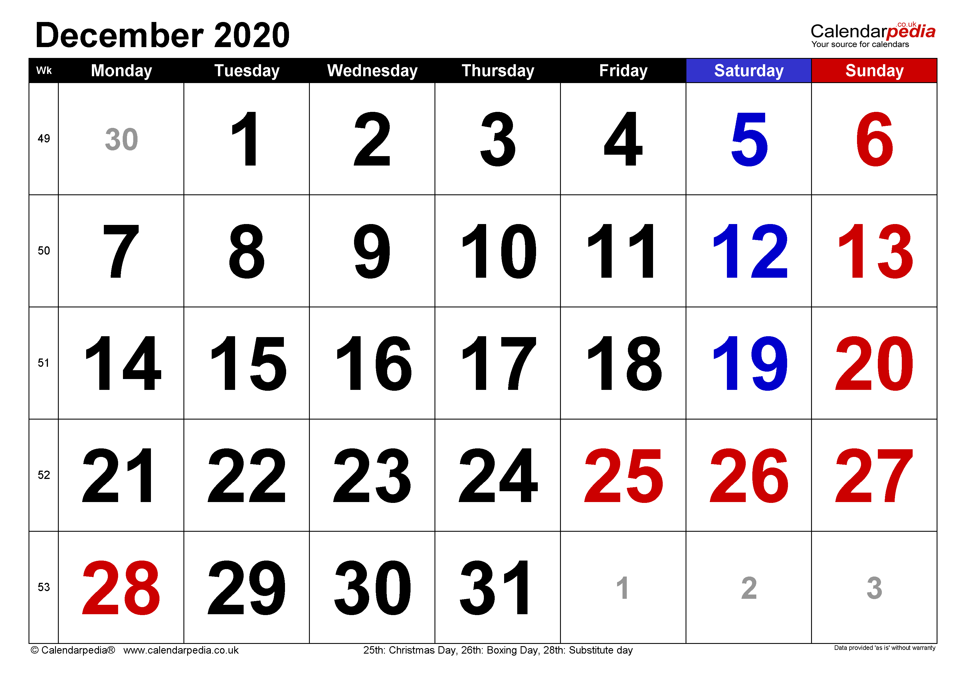Calendar December 2020 UK with Excel, Word and PDF templates
