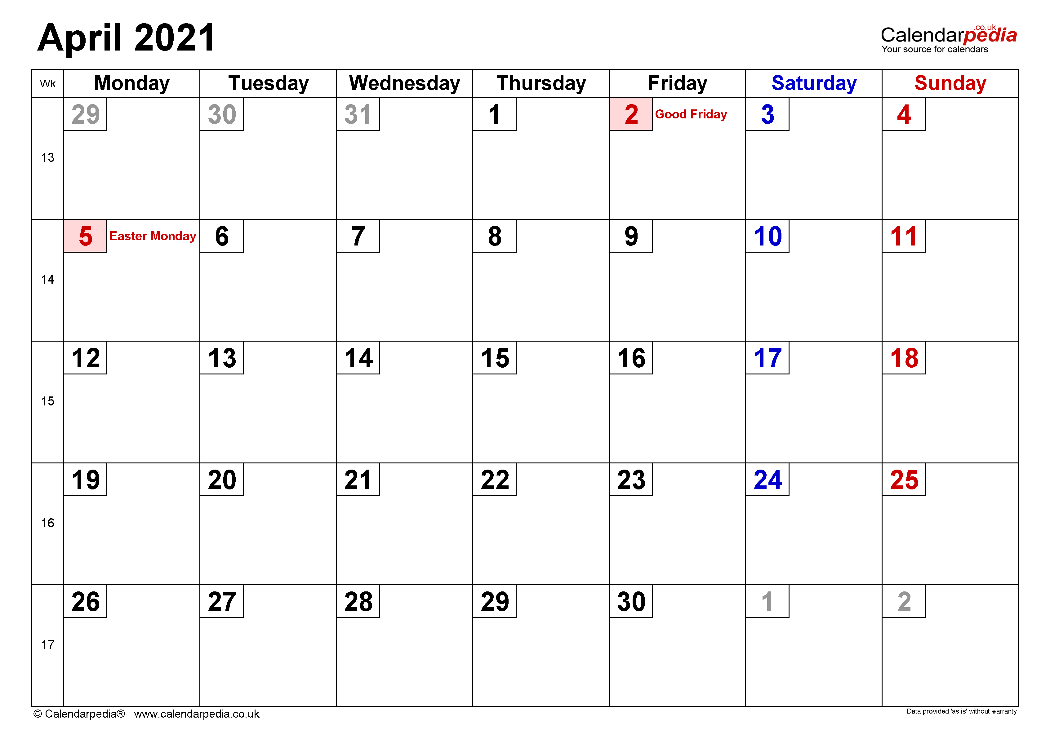Calendar April 2021 (UK) with Excel, Word and PDF templates