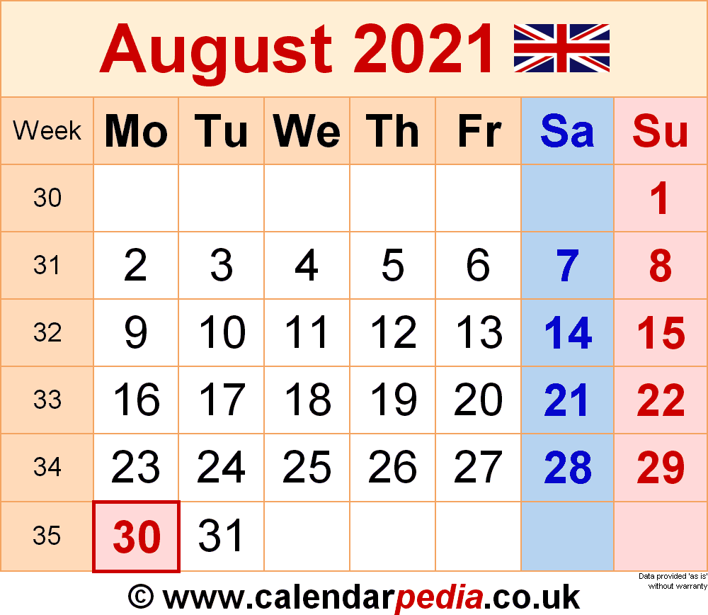 Calendar August 2021 UK with Excel, Word and PDF templates