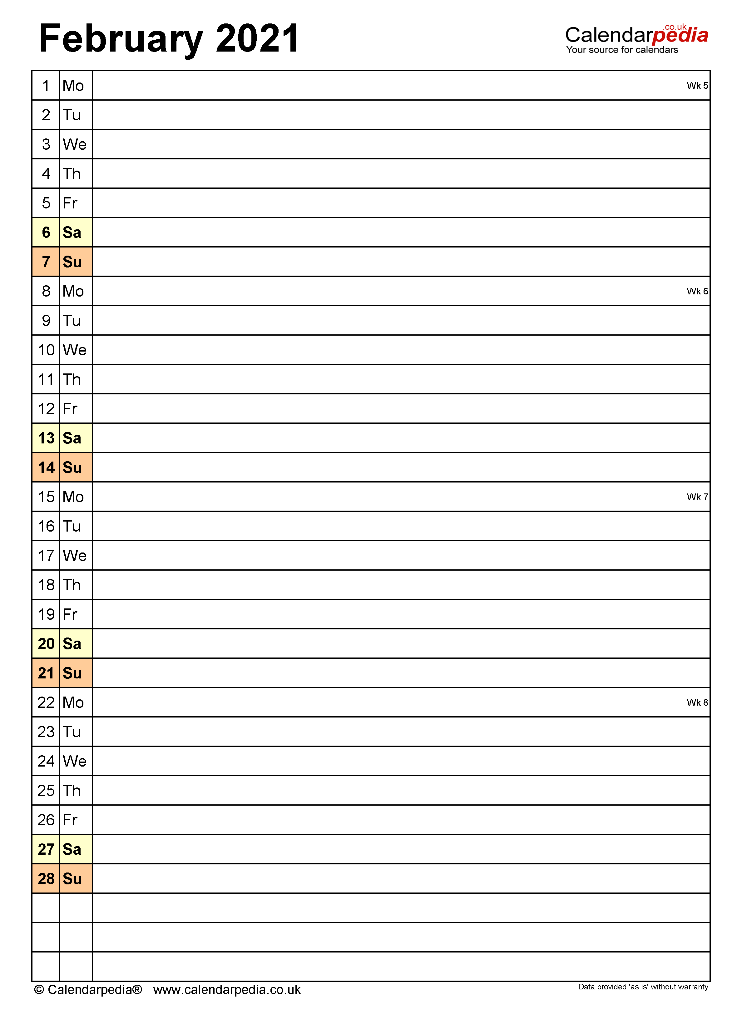 Calendar February 2021 (UK) with Excel, Word and PDF templates