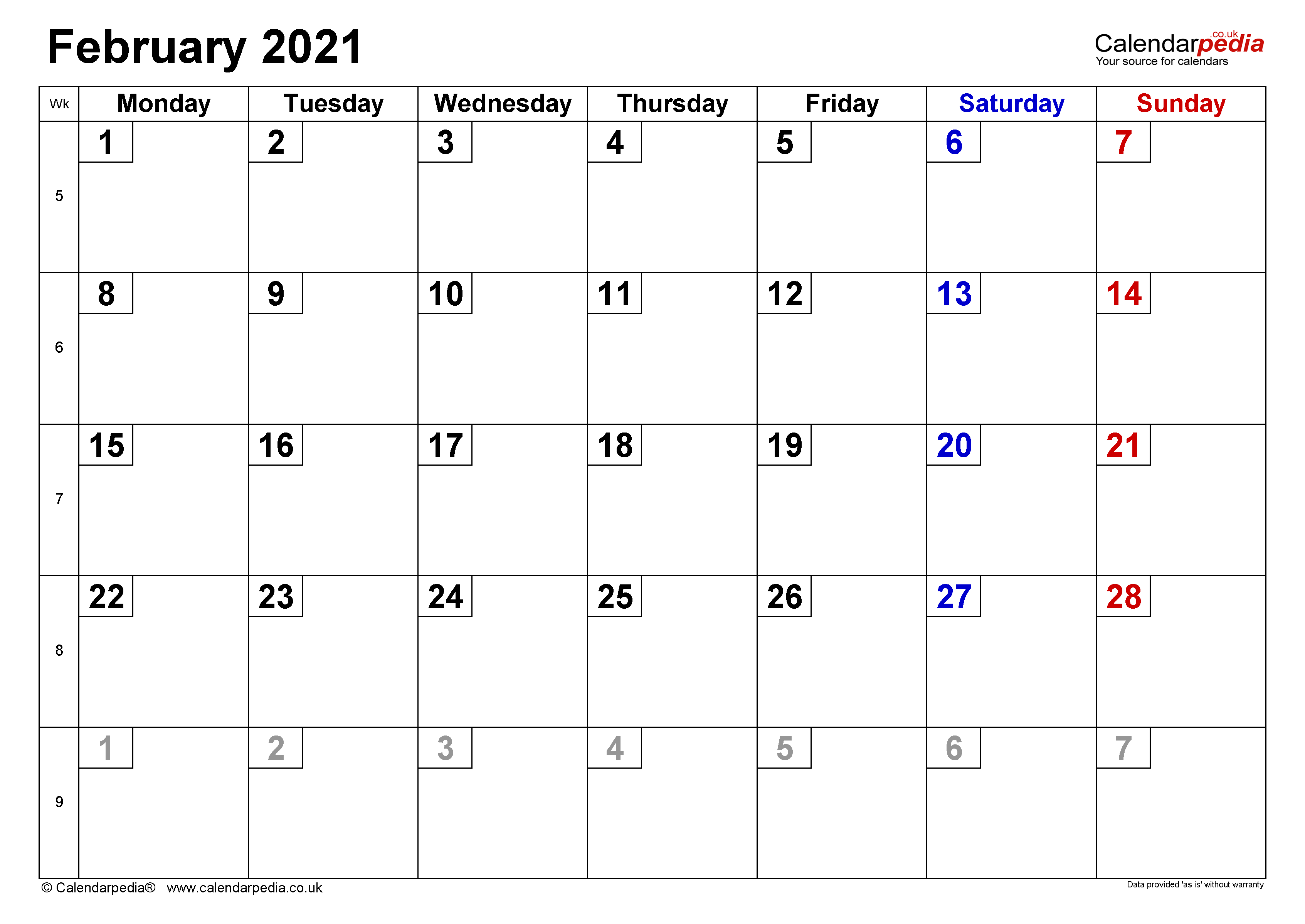 Calendar February 2021 Uk With Excel Word And Pdf Templates