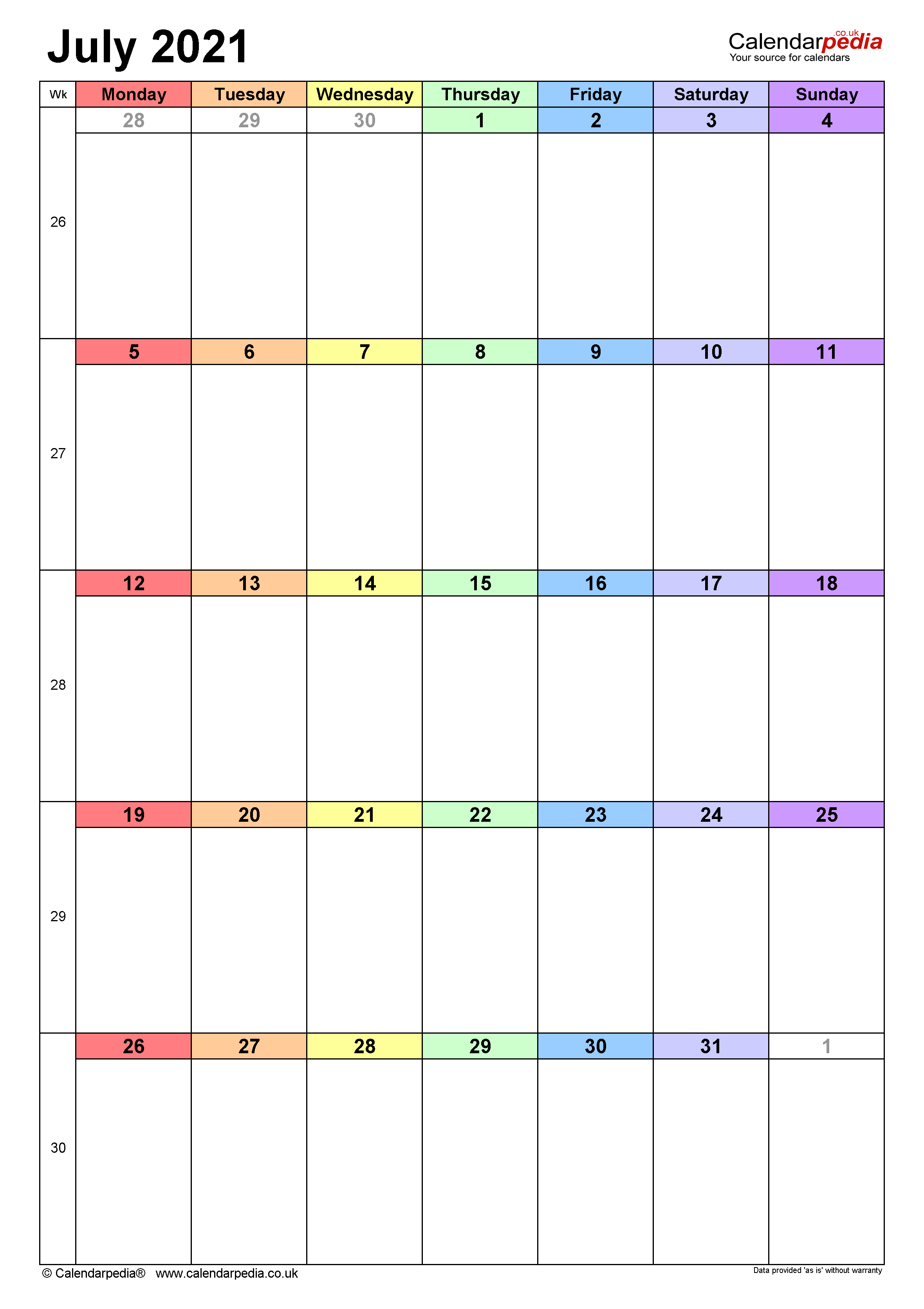 Calendar July 2021 (UK) with Excel, Word and PDF templates