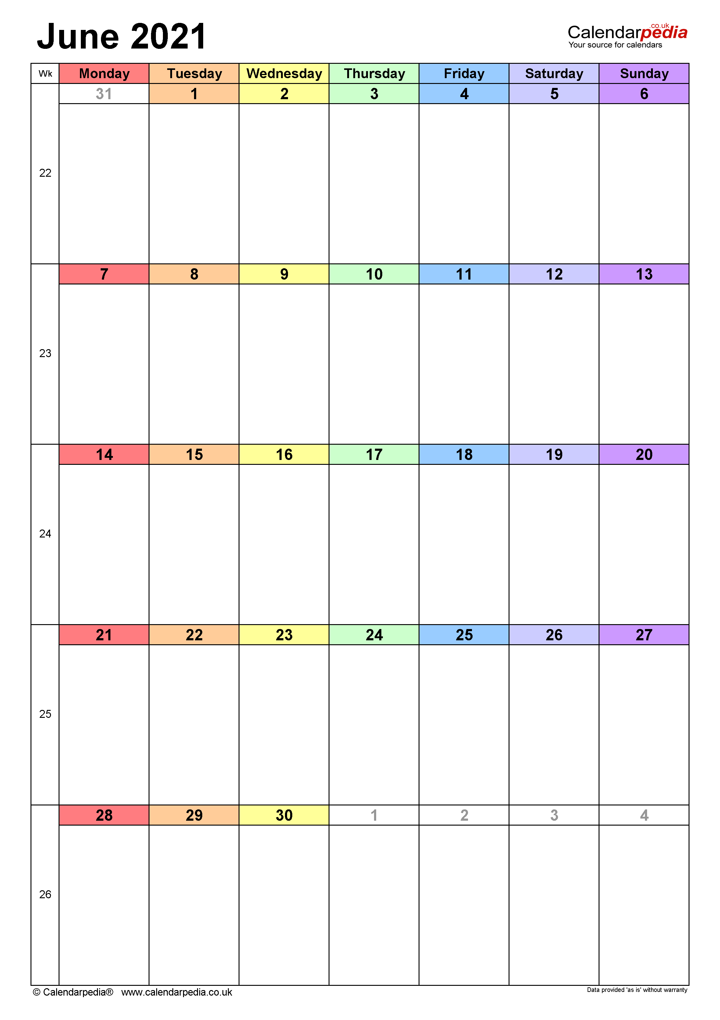 Calendar June 2021 (UK) with Excel, Word and PDF templates