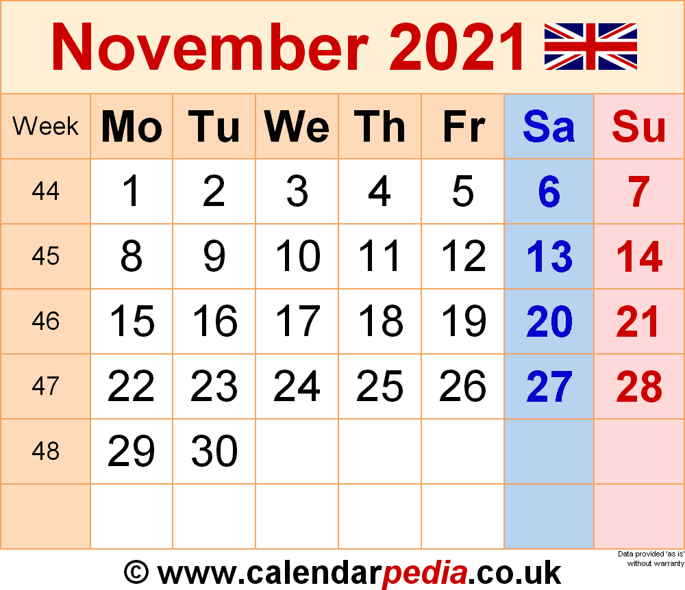 Calendar November 2021 (UK) with Excel, Word and PDF templates
