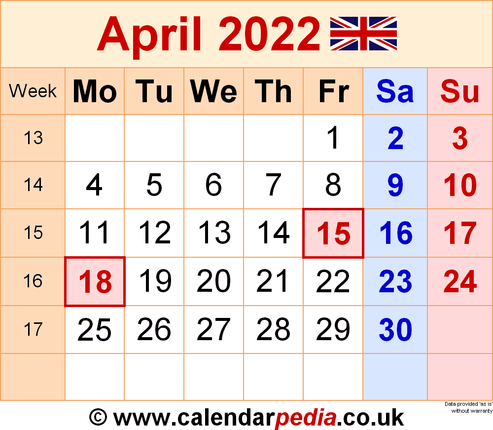 April Calendar 2022 With Holidays.Calendar April 2022 Uk With Excel Word And Pdf Templates