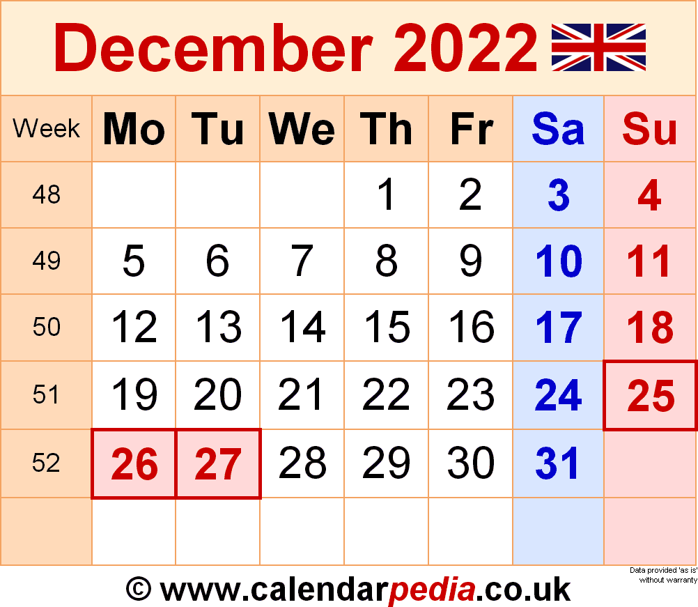 Calendar December 2022 (UK) with Excel, Word and PDF templates