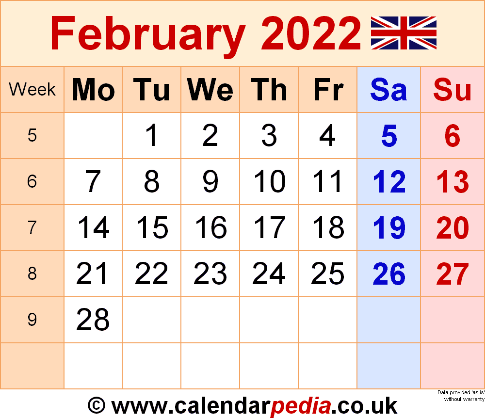 Calendar February 2022 (UK) with Excel, Word and PDF templates