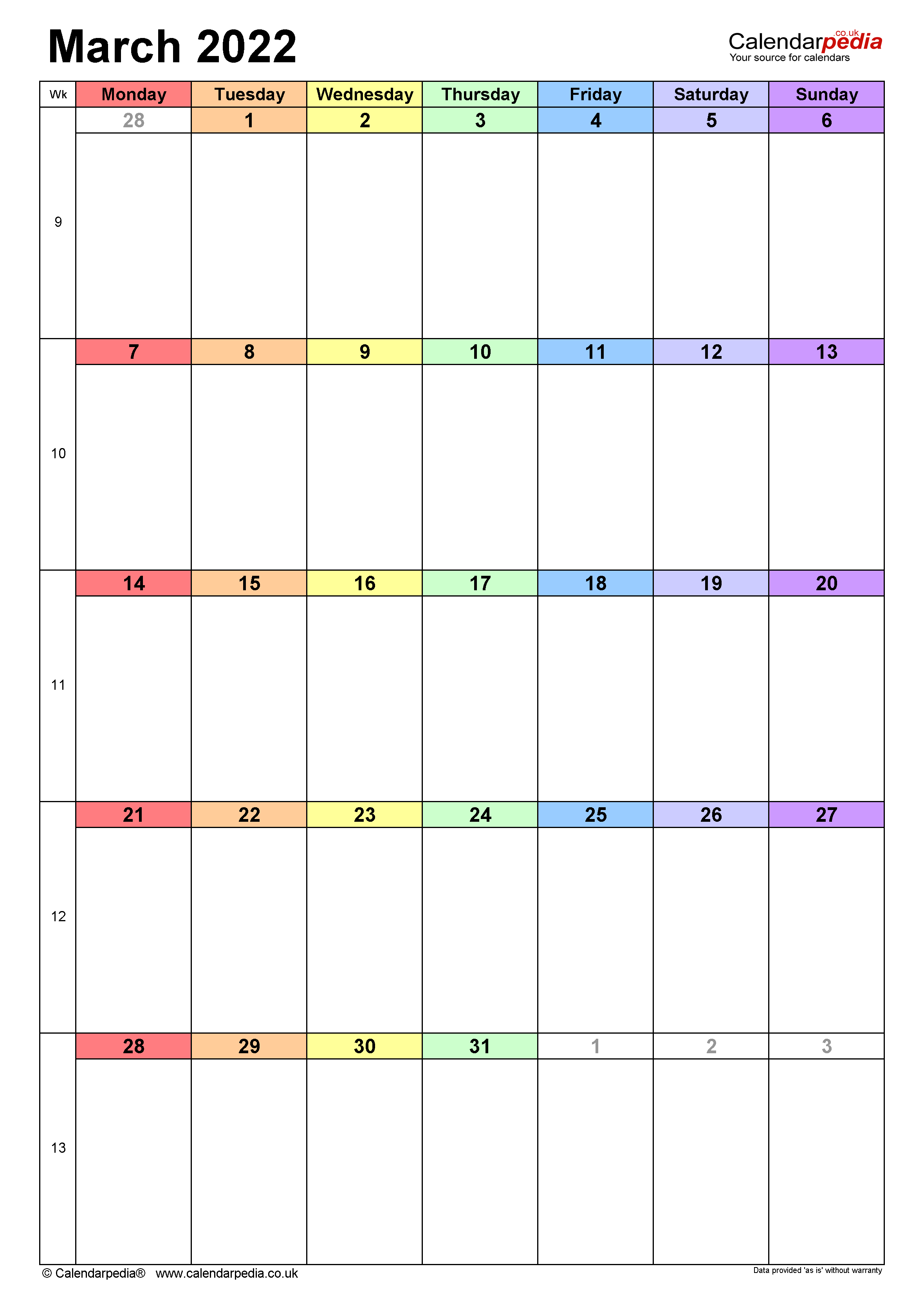 Calendar March 2022 UK with Excel, Word and PDF templates