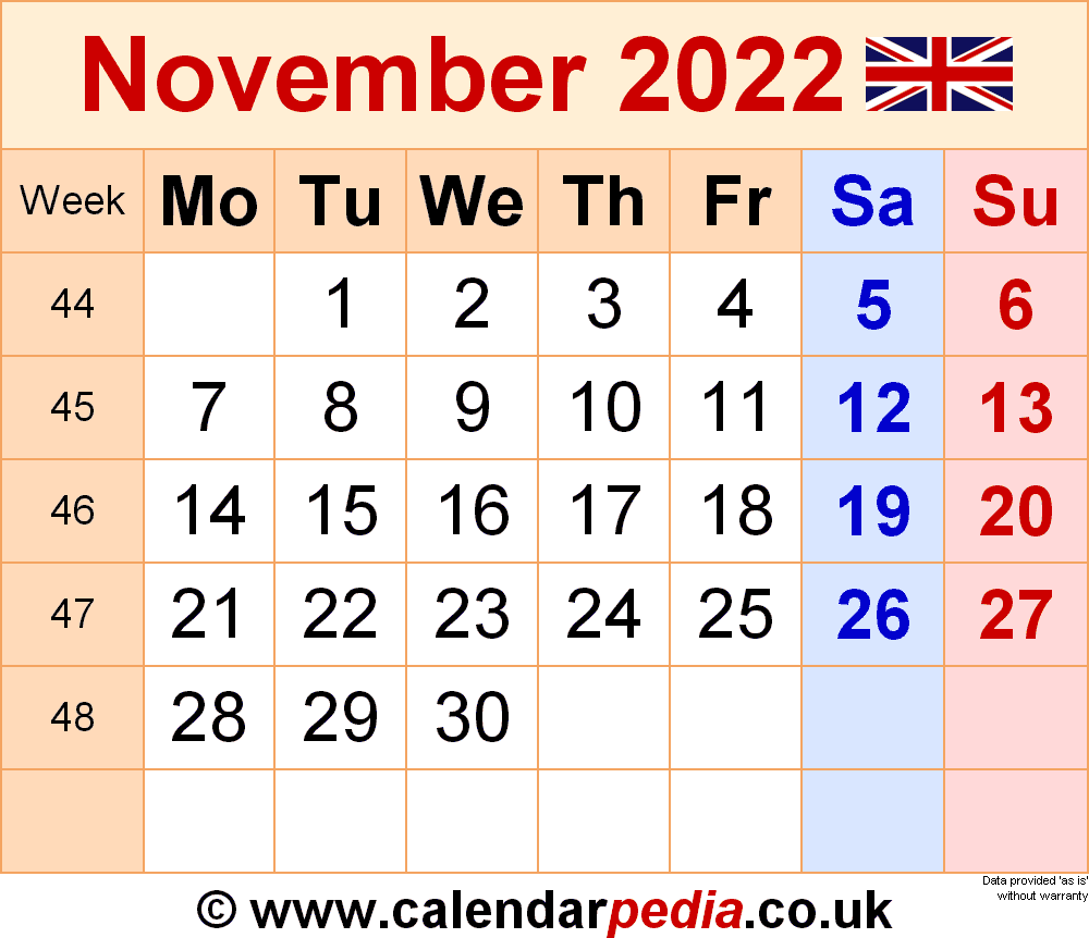 Calendar November 2022 (UK) with Excel, Word and PDF templates