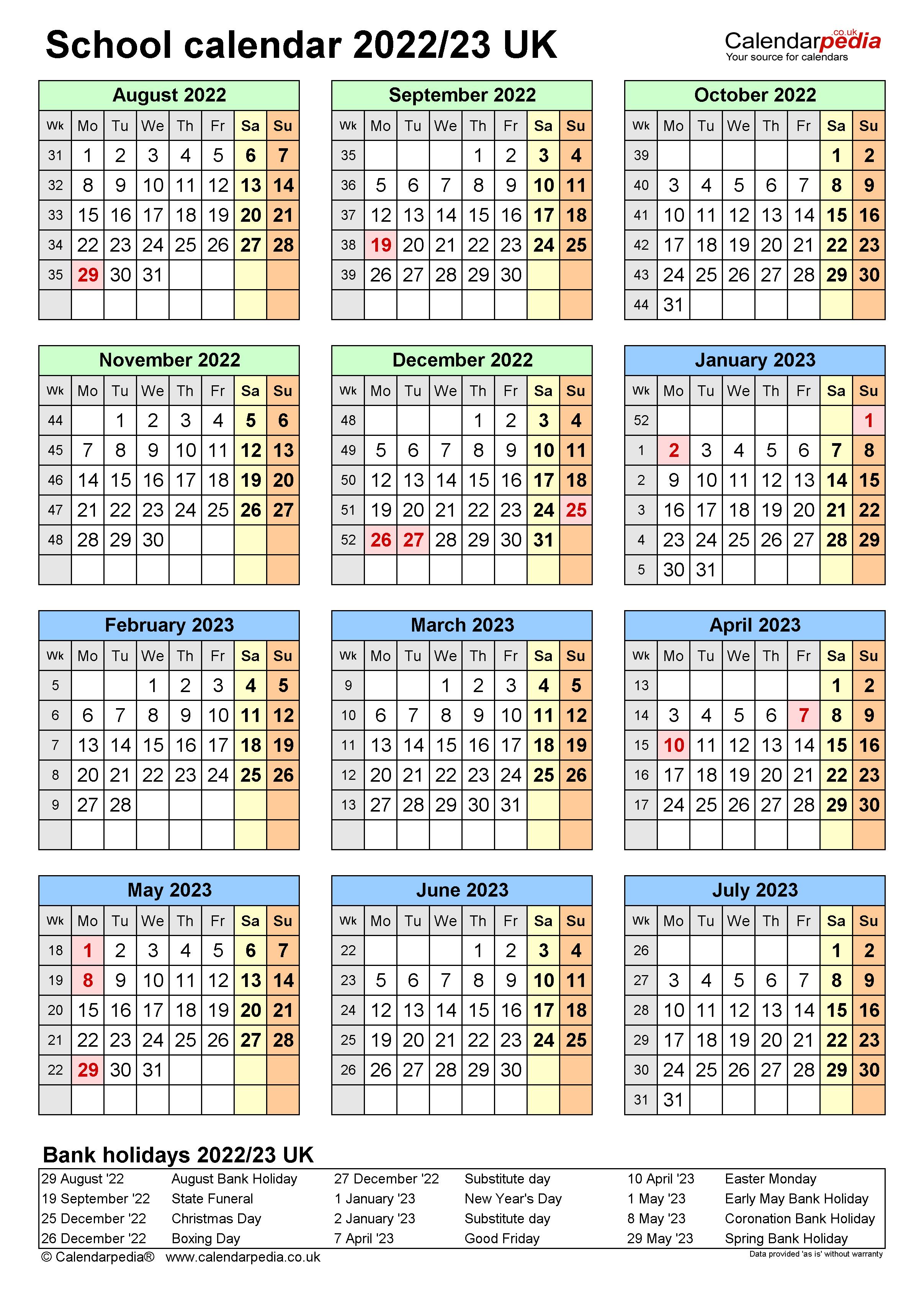 Unc Academic Calendar 2022 23.School Calendars 2022 23 Uk Free Printable Excel Templates
