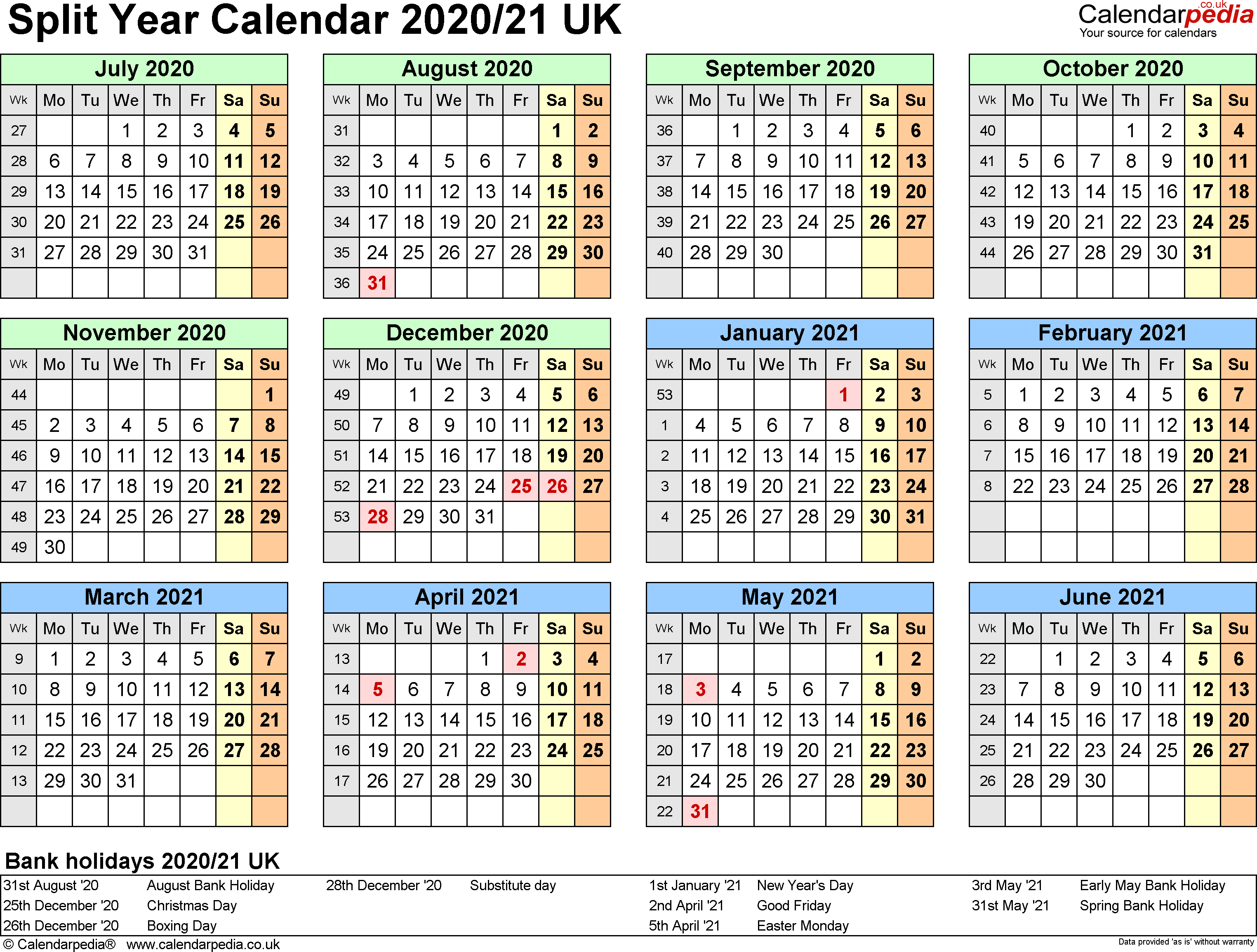 Split year calendars 2020/21 UK (July to June) for Word
