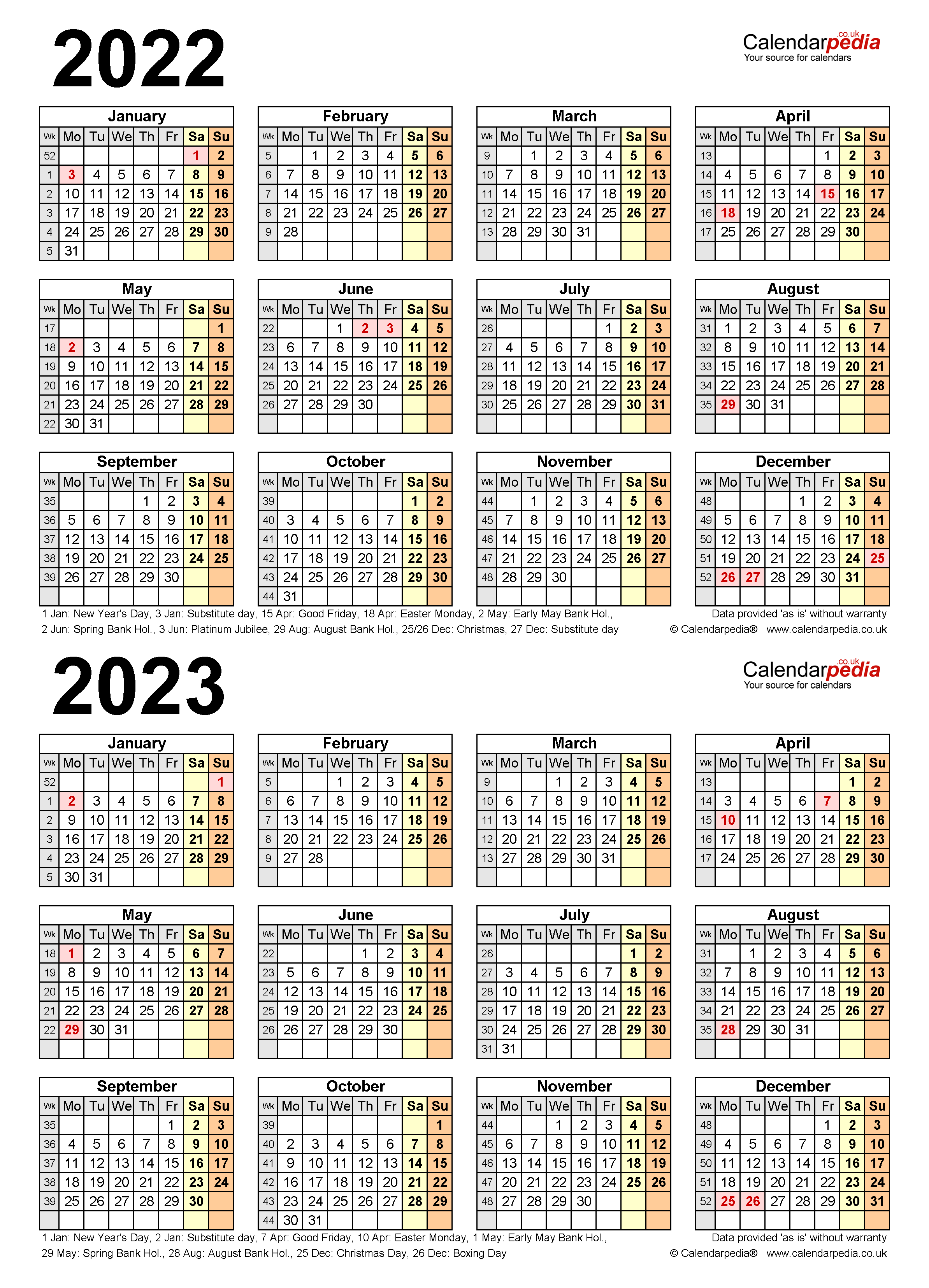 Uci Calendar 2022 23.Two Year Calendars For 2022 2023 Uk For Pdf