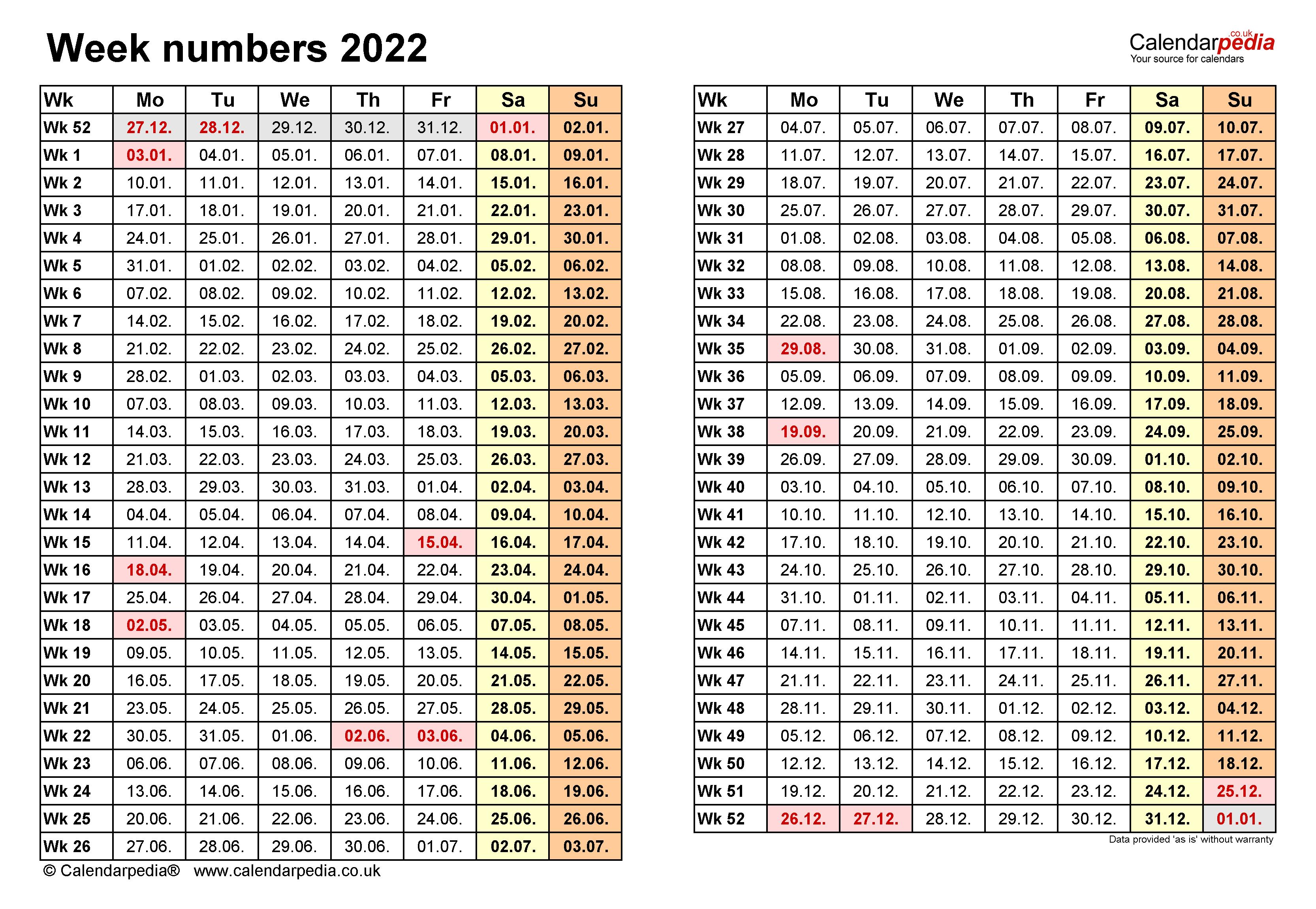 2022 Calendar Week Numbers.Week Numbers 2022 With Excel Word And Pdf Templates