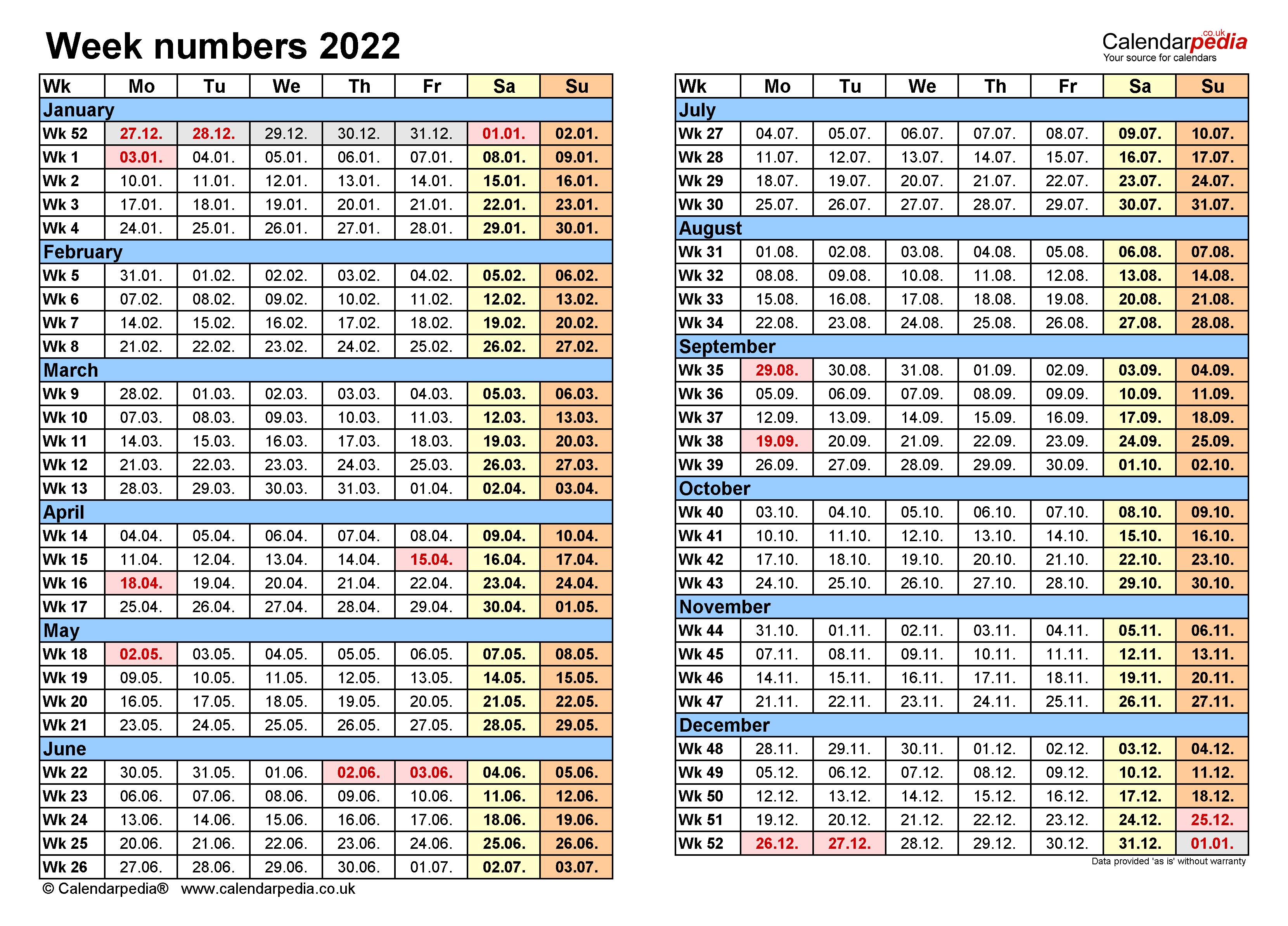 Week Number Calendar 2022.Week Numbers 2022 With Excel Word And Pdf Templates