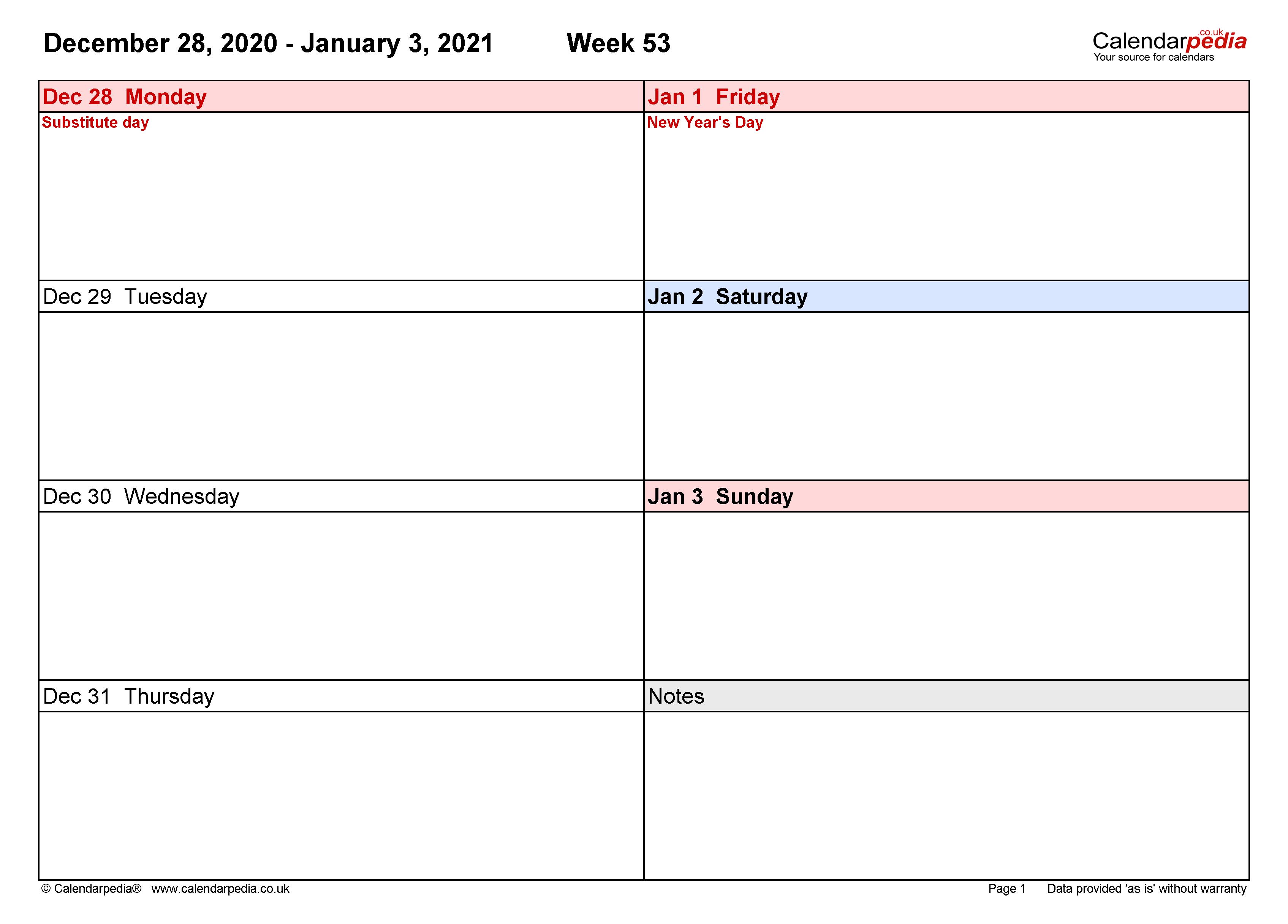 Free Editable Weekly 2021 Calendar - Calendar 2021 (UK ...