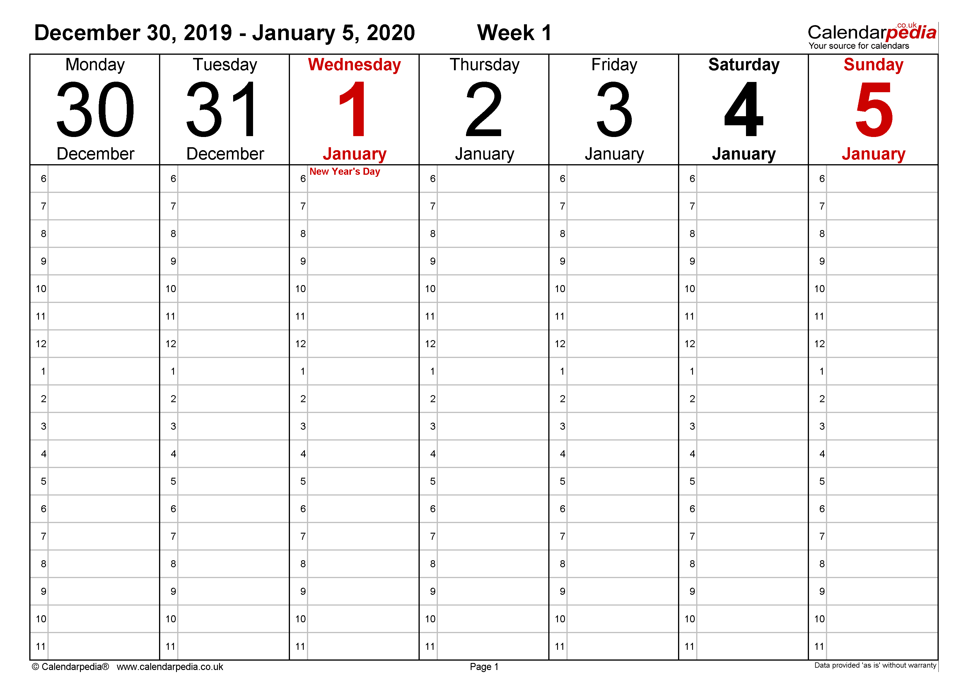 Weekly calendar 2020 UK - free printable templates for Word