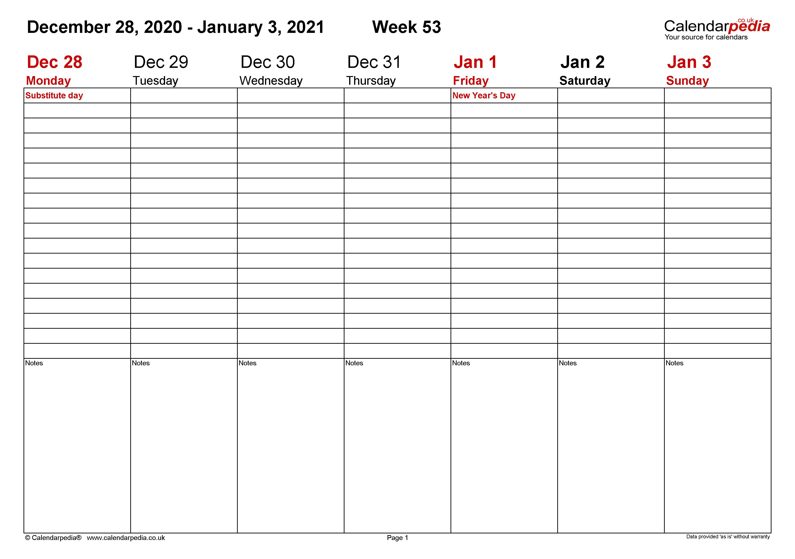 Free Editable Weekly 2021 Calendar - Free 2021 Calendar ...