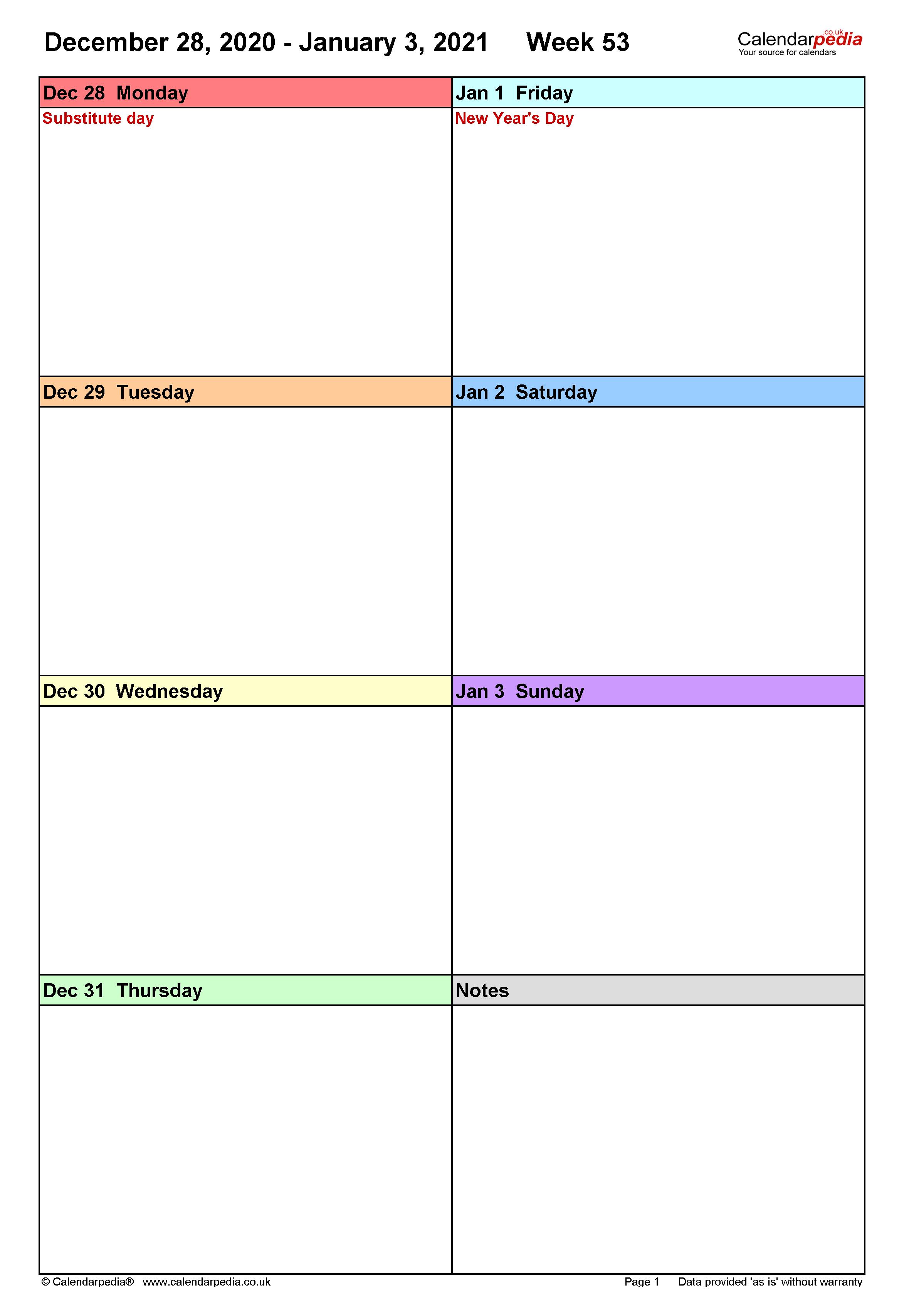 Weekly calendar 2021 UK - free printable templates for PDF