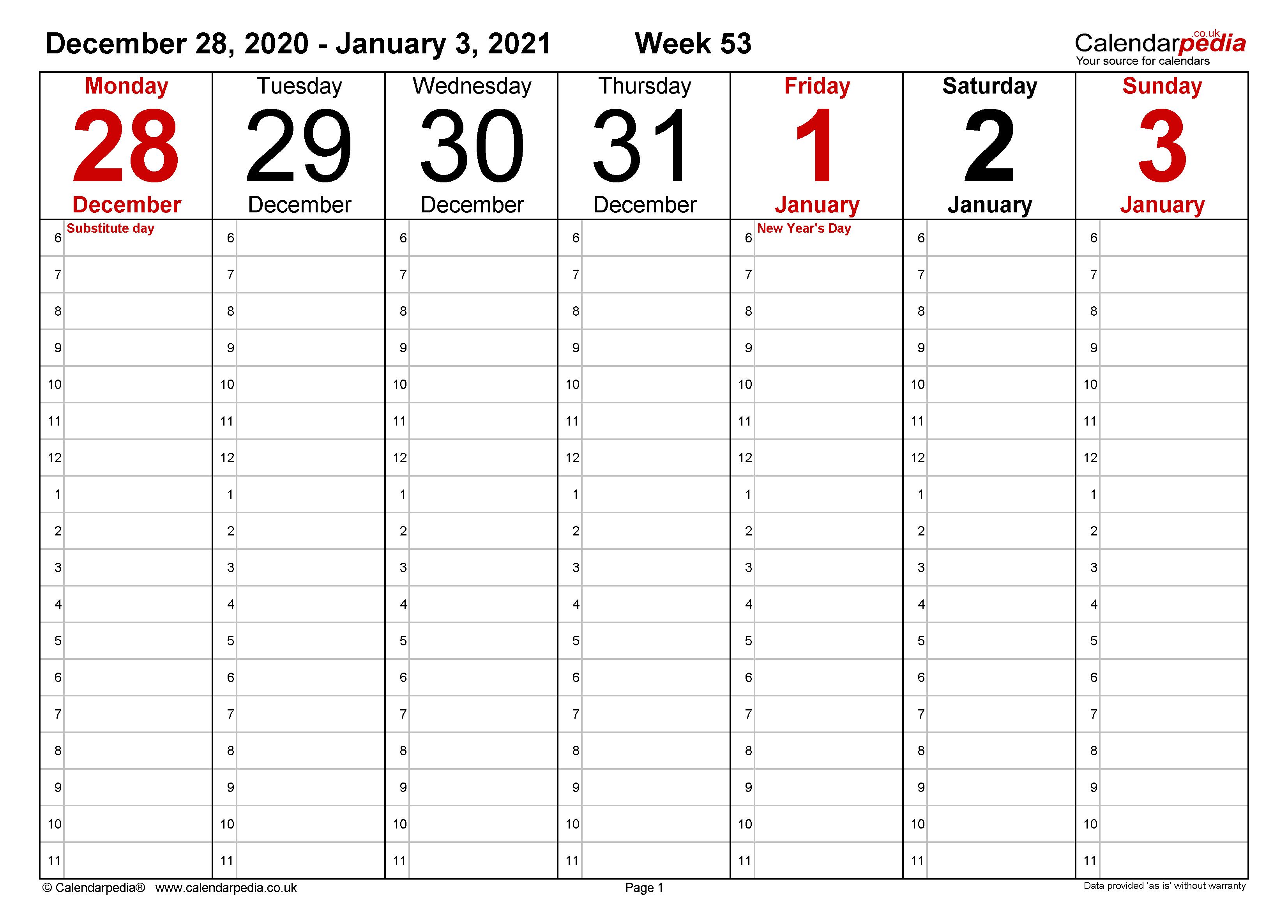 Weekly calendar 2021 UK - free printable templates for Word