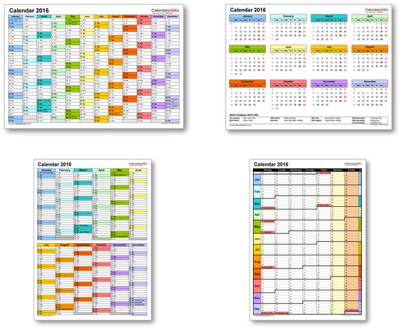 Calendar templates 2016 for Excel, PDF & Word