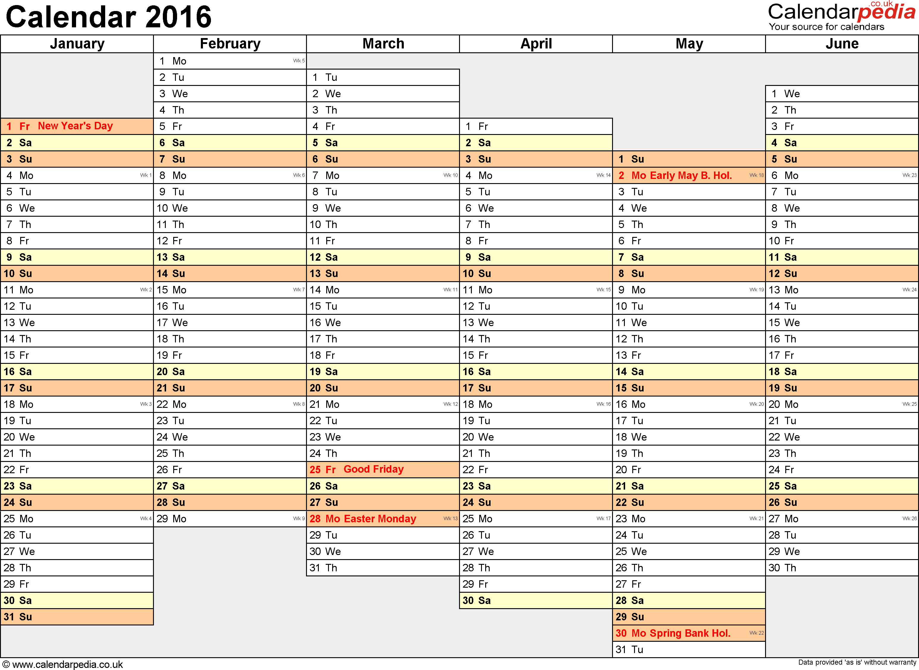 Template 4: Yearly calendar 2016 as PDF template, landscape orientation, A4, 2 pages, months horizontally, days vertically, days of the week in line, with UK bank holidays and week numbers