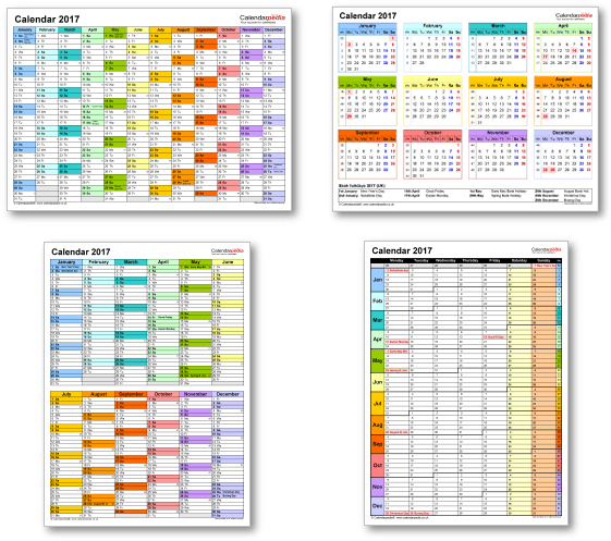 Calendar templates 2017 for Excel, PDF & Word