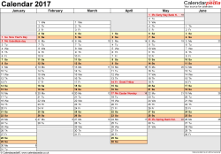Template 4: Yearly calendar 2017 as Word template, landscape orientation, A4, 2 pages, months horizontally, days vertically, days of the week in line, with UK bank holidays and week numbers